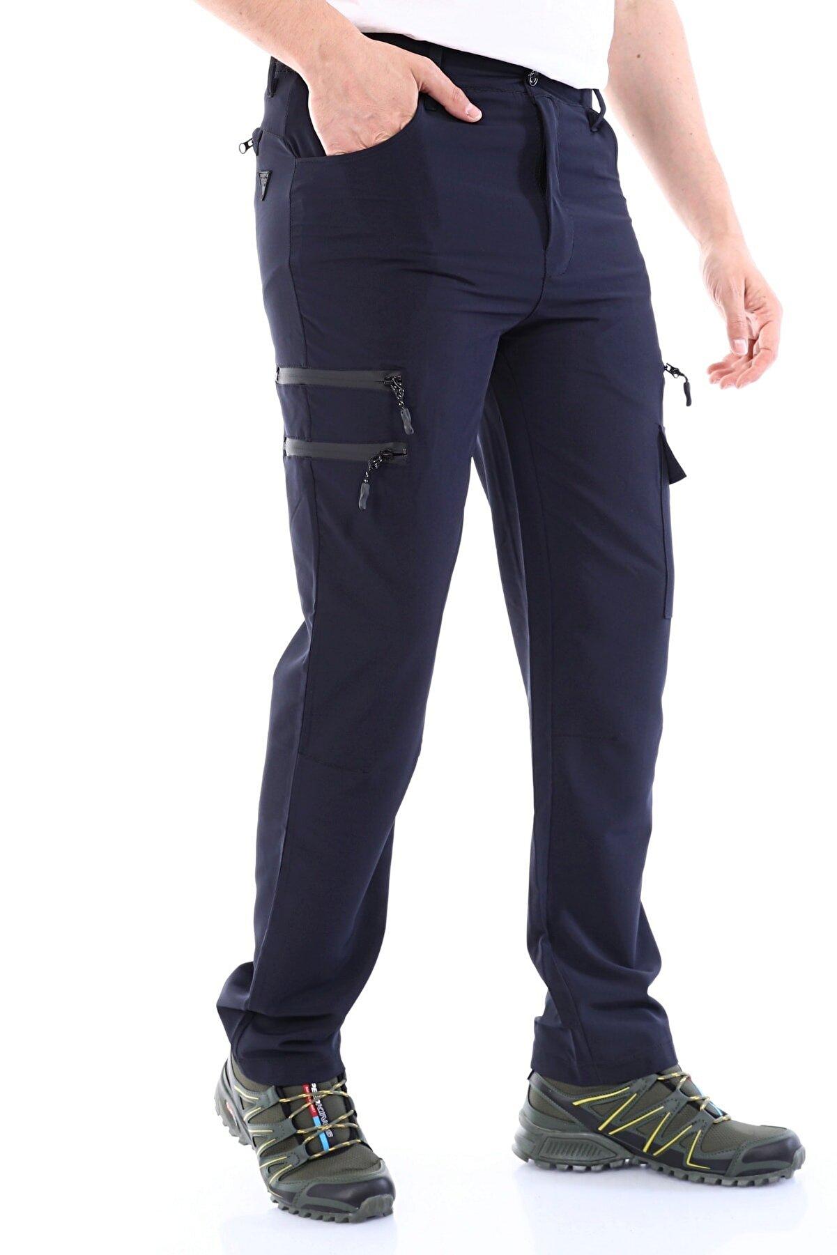Ghassy Co Erkek Lacivert Tactical Outdoor Nefes Alan Hızlı Kuruyan 7 Fonksiyonel Cepli Yazlık Paraşüt Pantolon