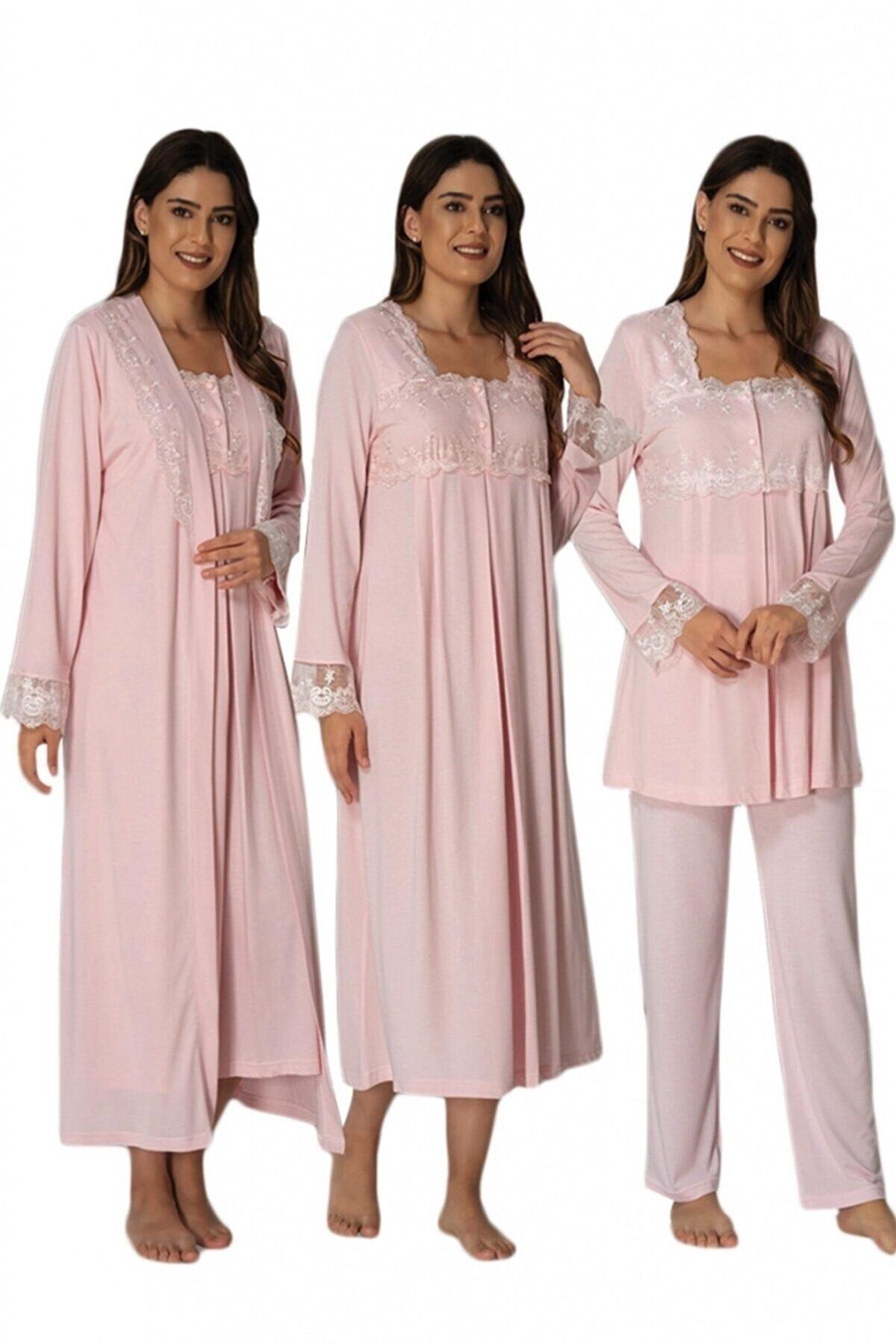 Effort Pijama Effort Pembe 4 Lü Lohusa Set 2405