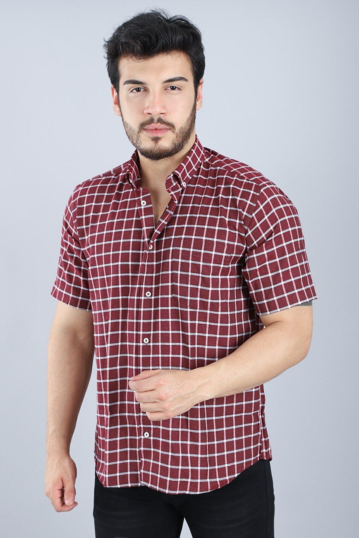 Arlin Erkek Cepli Düğmeli Normal Kalıp Kısa Kollu Bordo Kısa Kol Gömlek