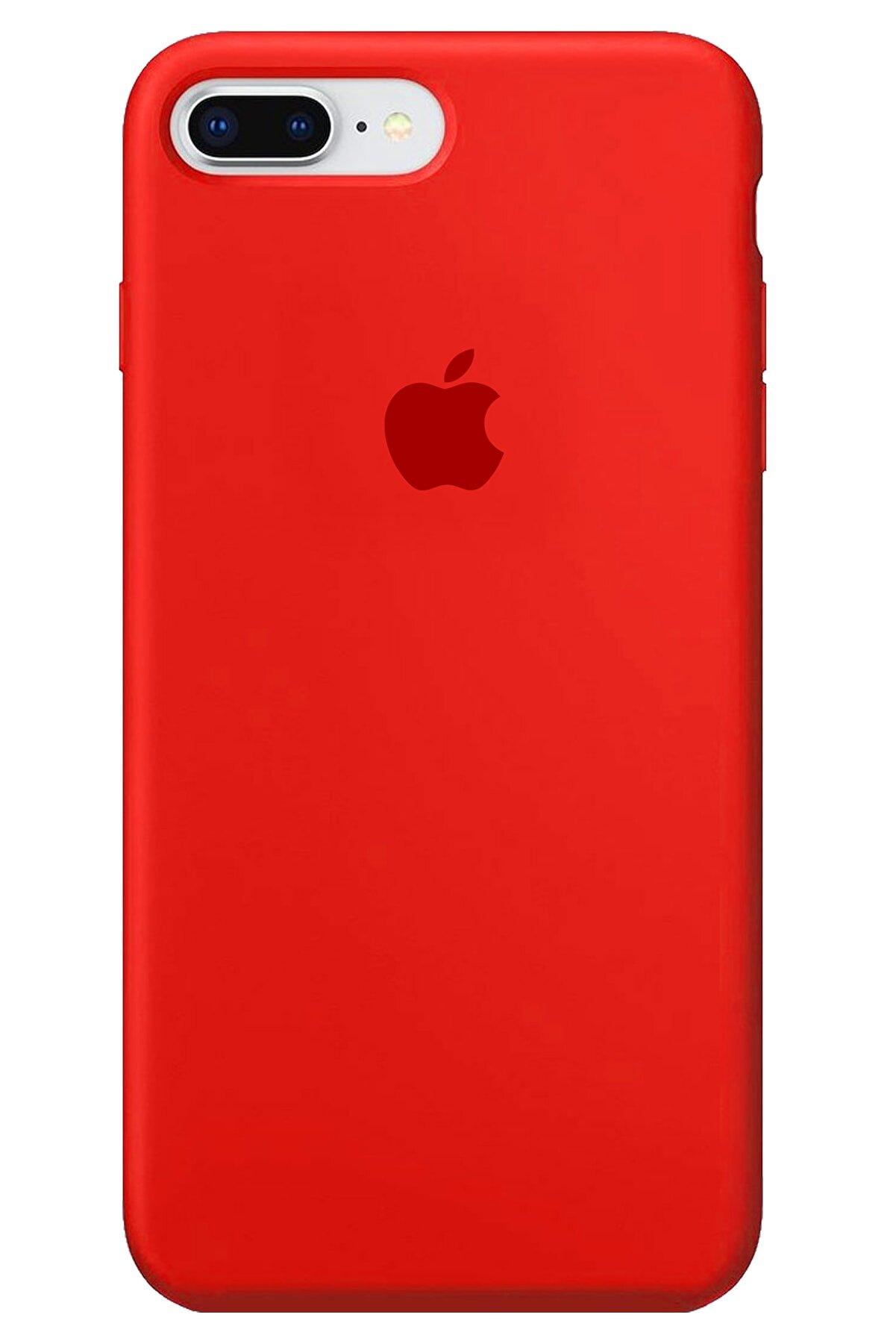 Apple Iphone 8 Plus Kılıf Logolu Lansman Altı Kapalı Içi Süet - Kırmızı + Popsocket