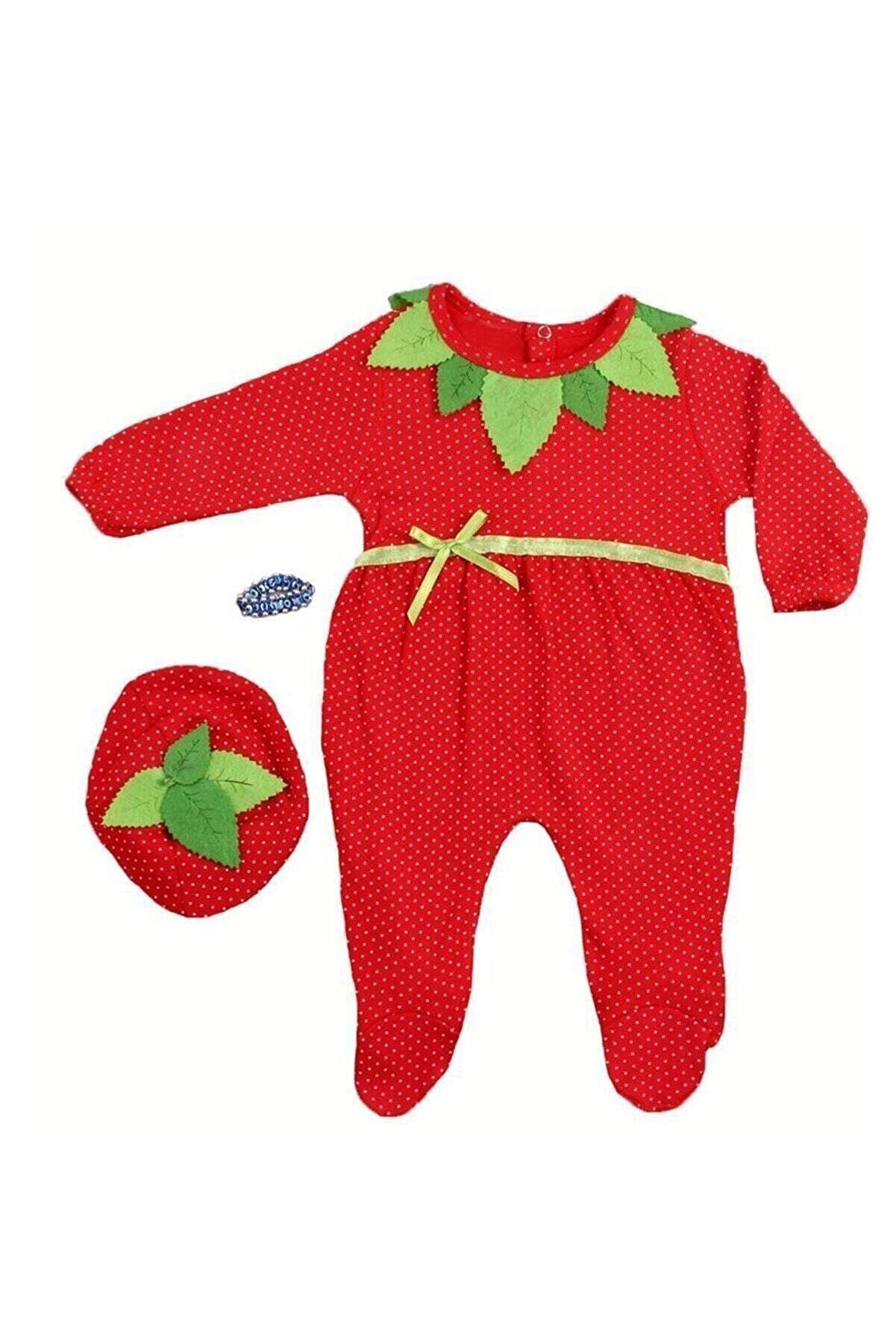 BabyTio 0-6 Ay Kız Bebek Çilek Tulum 3 Lü Set