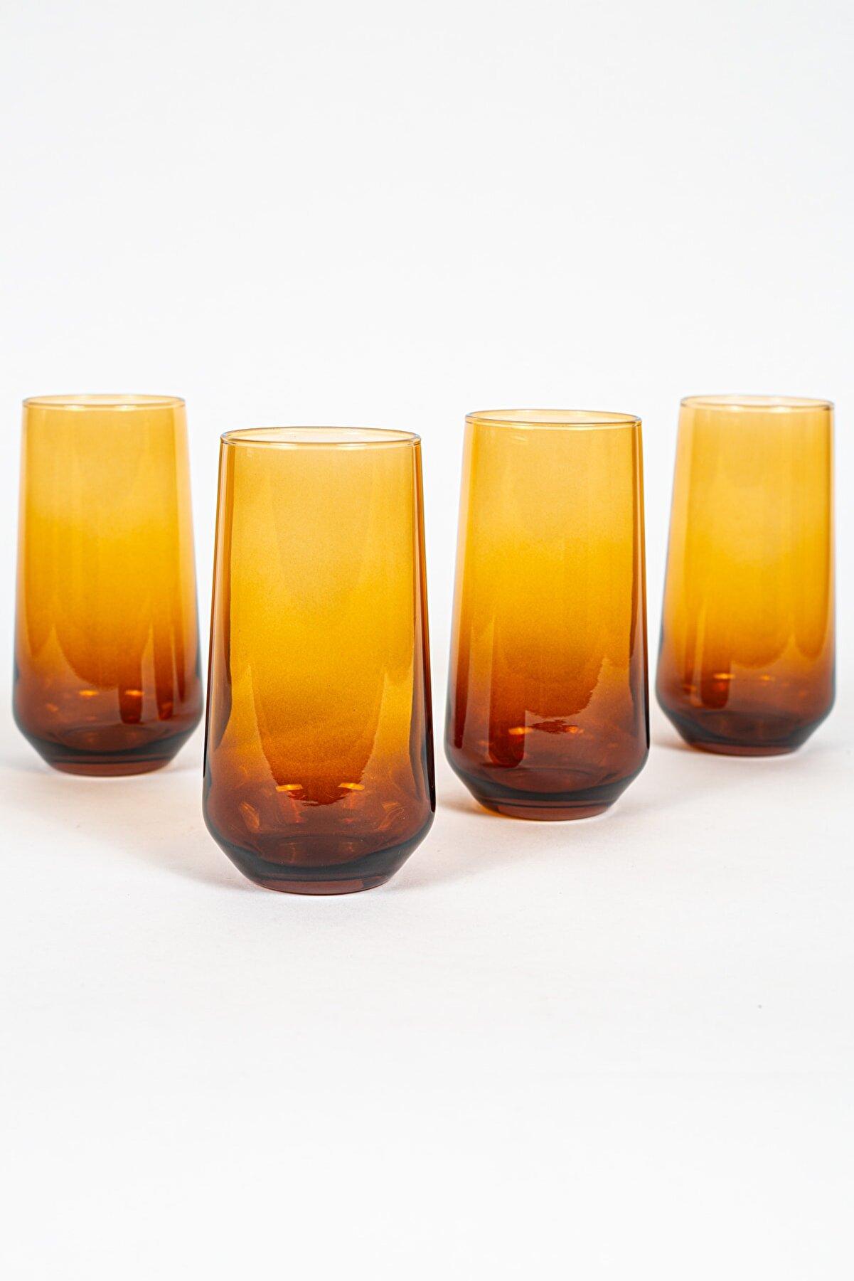 Rakle New Iconic 4'lü Meşrubat Bardağı Seti Amber 470 Cc