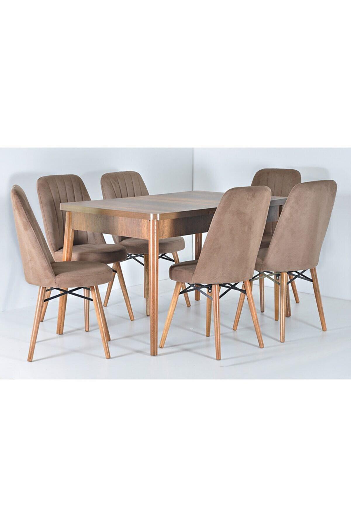 Kaktüs Avm Masa Sandalye Takımı 6 Kişilik Açılır Yemek Masası Salon Masası Açılır Masa Takımı Ahşap Masa