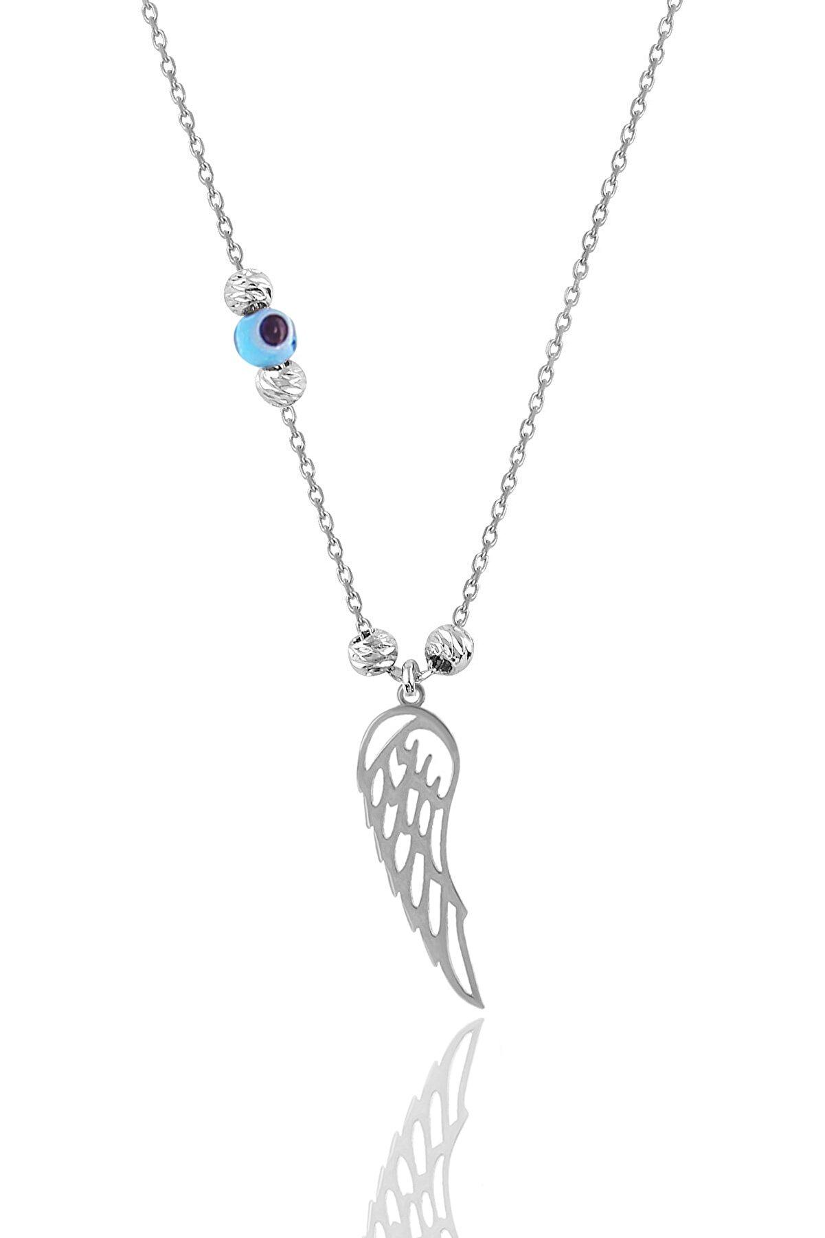 Söğütlü Silver Gümüş Rodyumlu Dorica Toplu Kanat Kolye