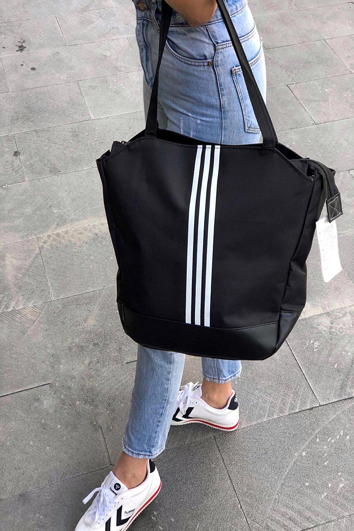 EMOŞ ÇANTA Kadın Siyah Çizgili Büyük Boy Spor Çanta