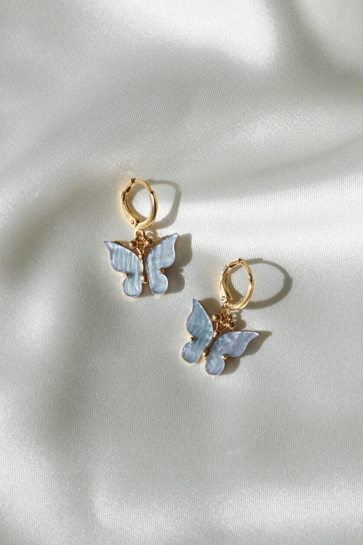 Reorah Collection Reorah Mavi Kelebek Küpe