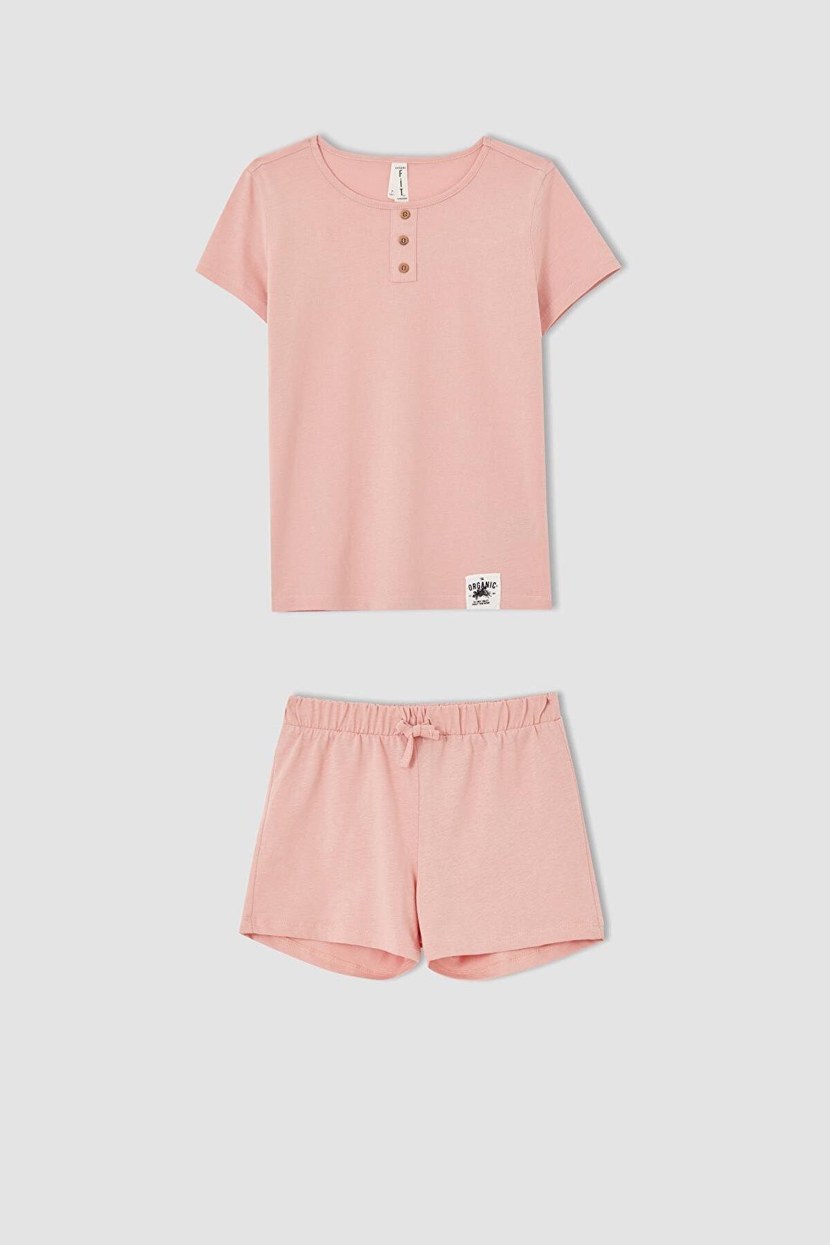 Defacto Kız Çocuk Organik Pamuk Kısa Kollu Pijama Takımı