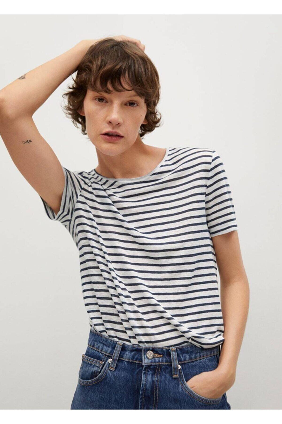 Mango Kadın Lacivert Çizgili Keten Tişört
