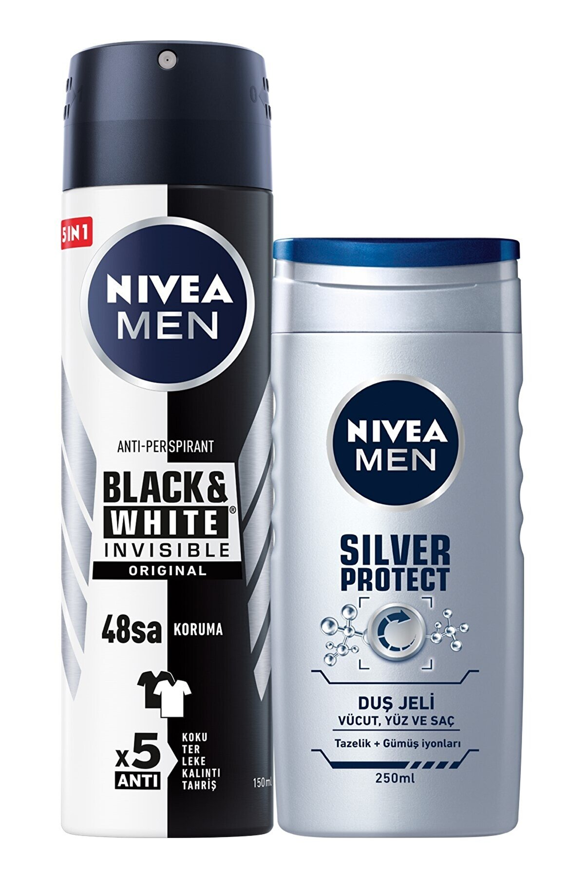Nivea B&w Original Erkek Sprey Deodorant 150 ml + Silver Protect Erkek Duş Jeli 250 ml