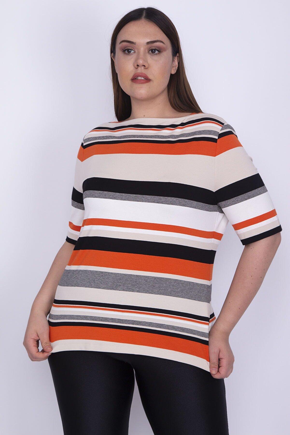 Şans Kadın Renkli Kare Yakalı Çizgili Viskon Kısa Kollu Bluz 65N26216