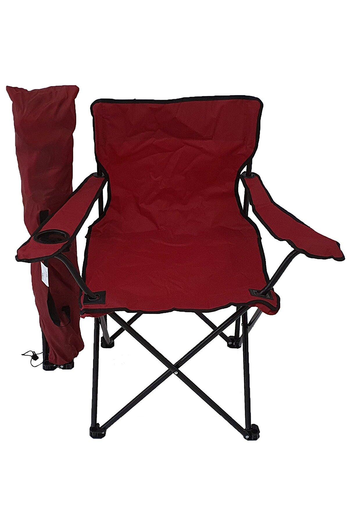 Bofigo Kamp Sandalyesi Piknik Sandalyesi Katlanır Sandalye Taşıma Çantalı Kamp Sandalyesi Kırmızı