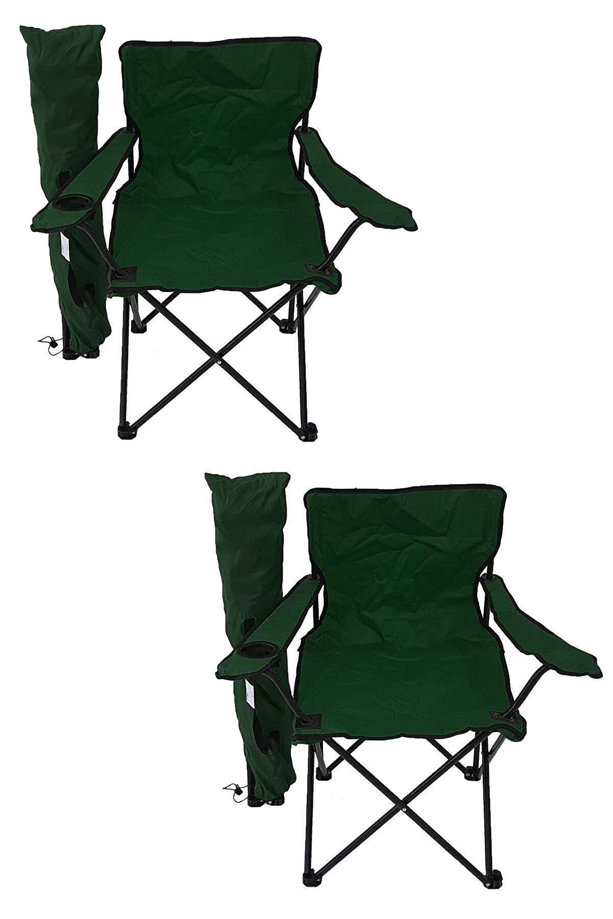 Bofigo 2'li Kamp Sandalyesi Piknik Sandalyesi Katlanır Sandalye Taşıma Çantalı Kamp Sandalyesi Yeşil.