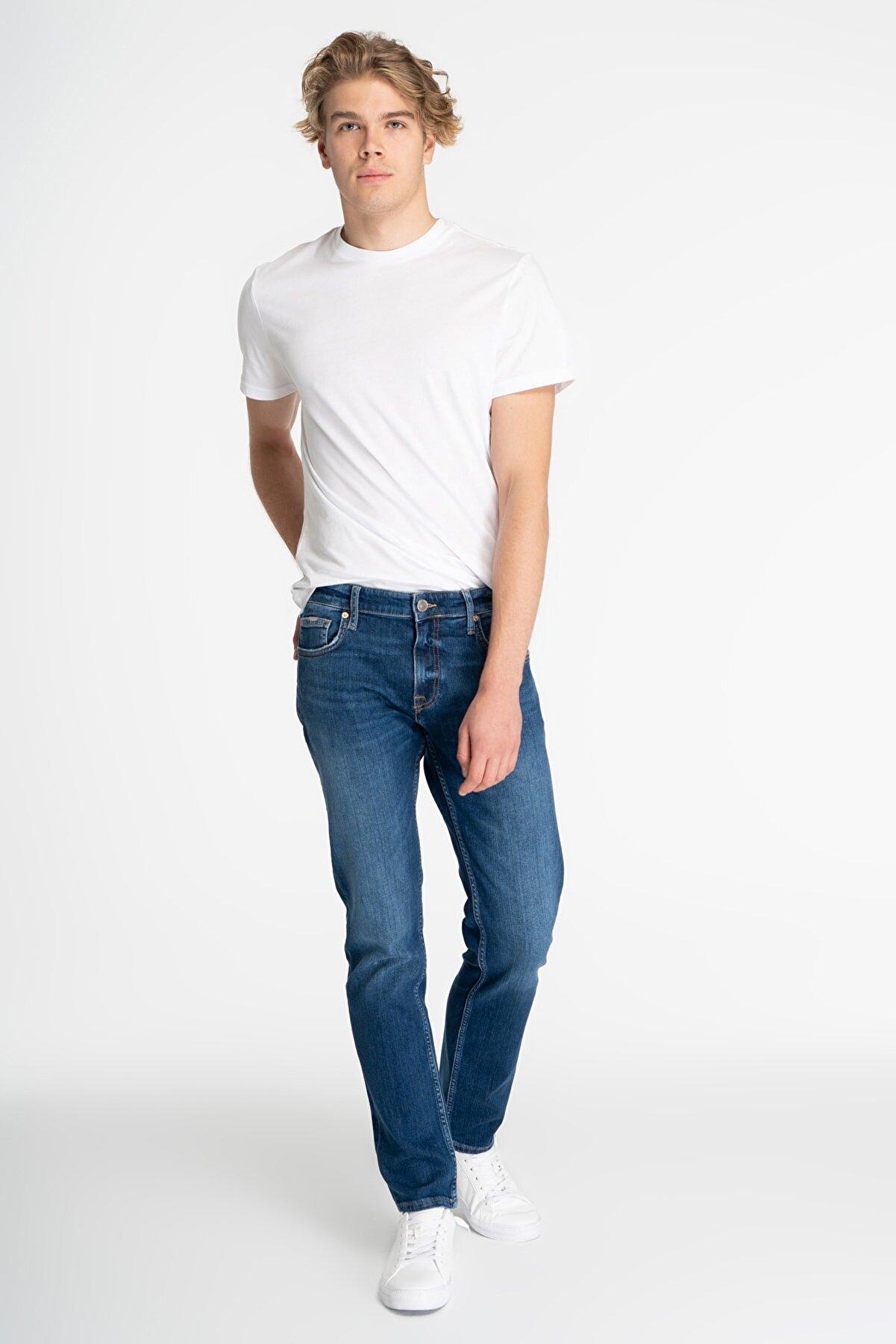 CROSS JEANS Matthew Orta Mavi Slim Straight 0normal Bel Jean Pantolon E 125-006