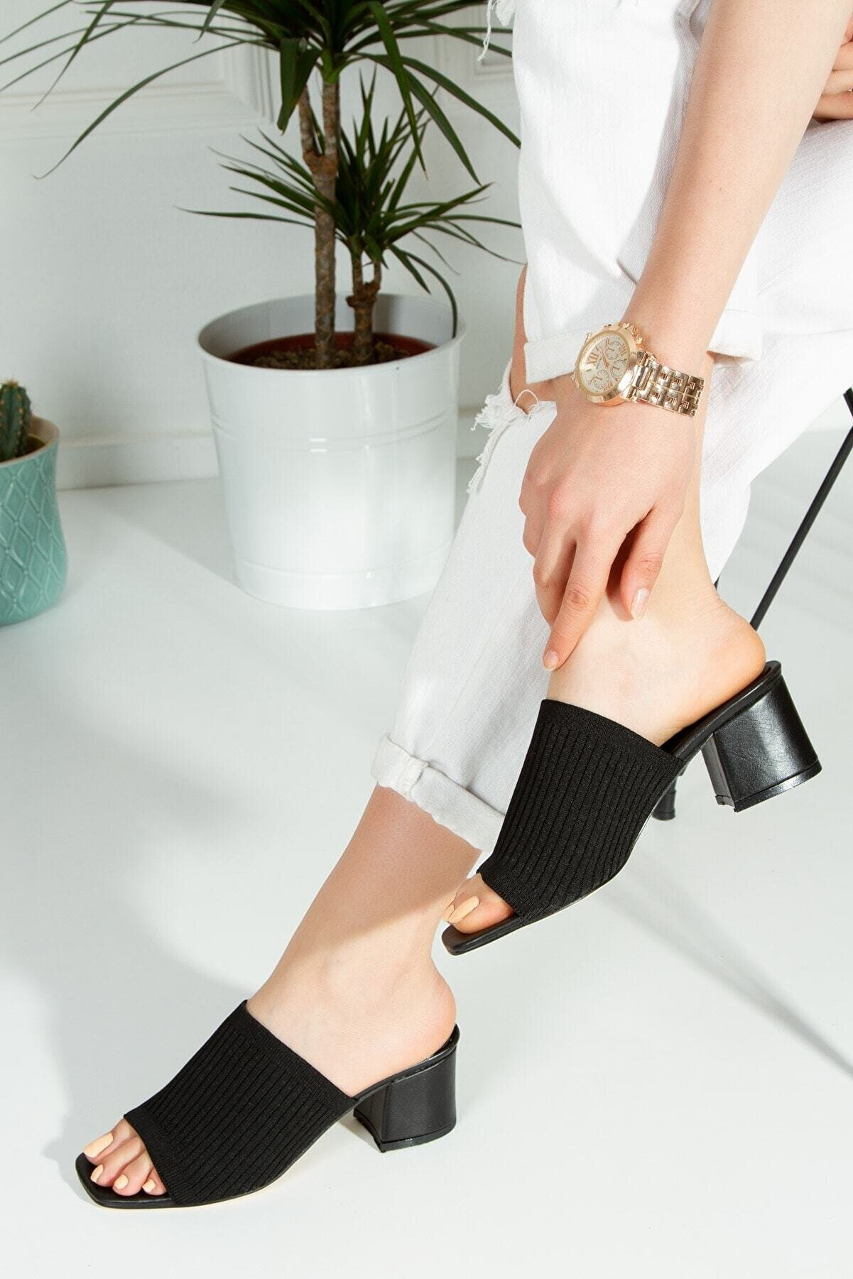 Snowberry Kadın Siyah Gracy Triko Topuklu Terlik