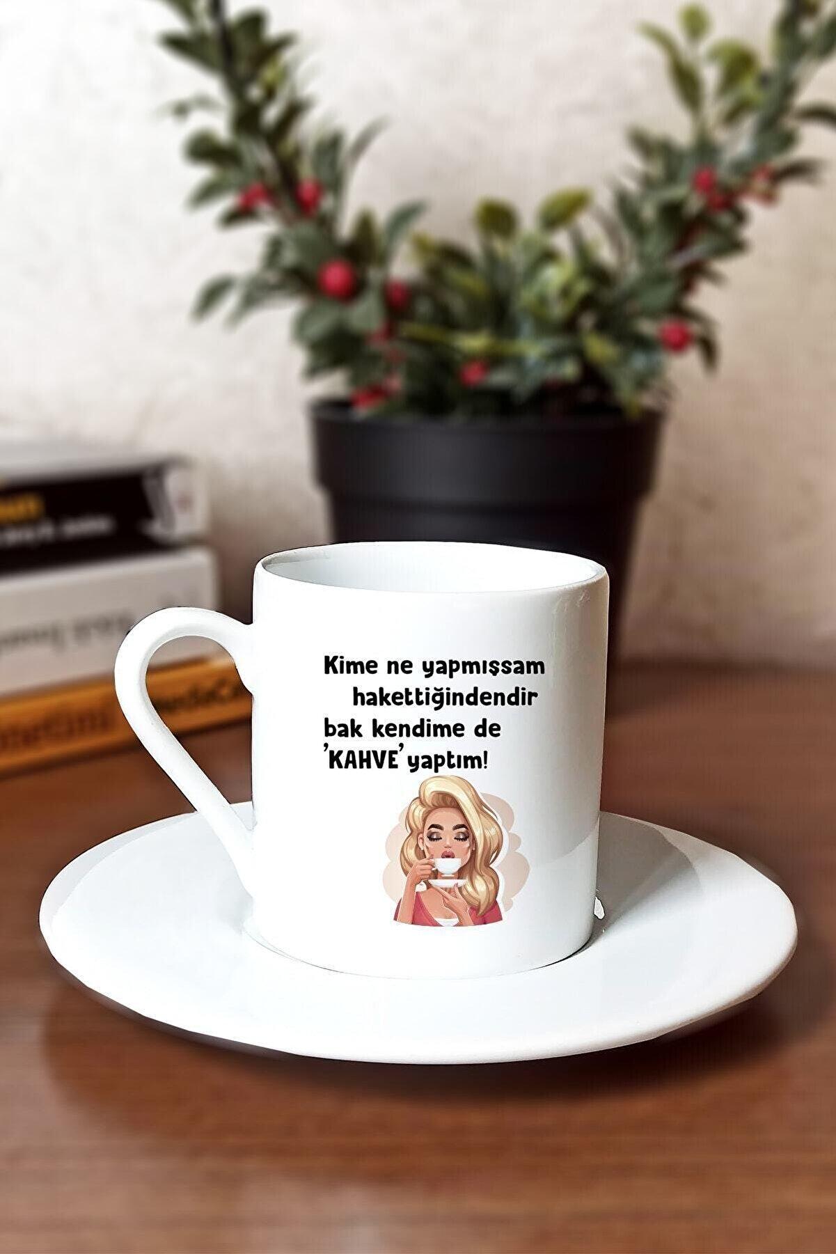 Şahane Kupa Bak Kendime De Kahve Yaptım Baskılı Beyaz Türk Kahvesi Fincanı