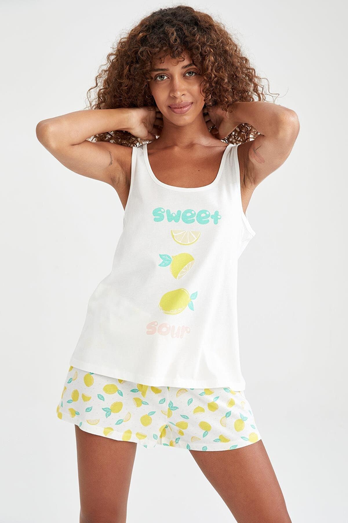 Defacto Relax Fit Limon Baskılı Pijama Takımı
