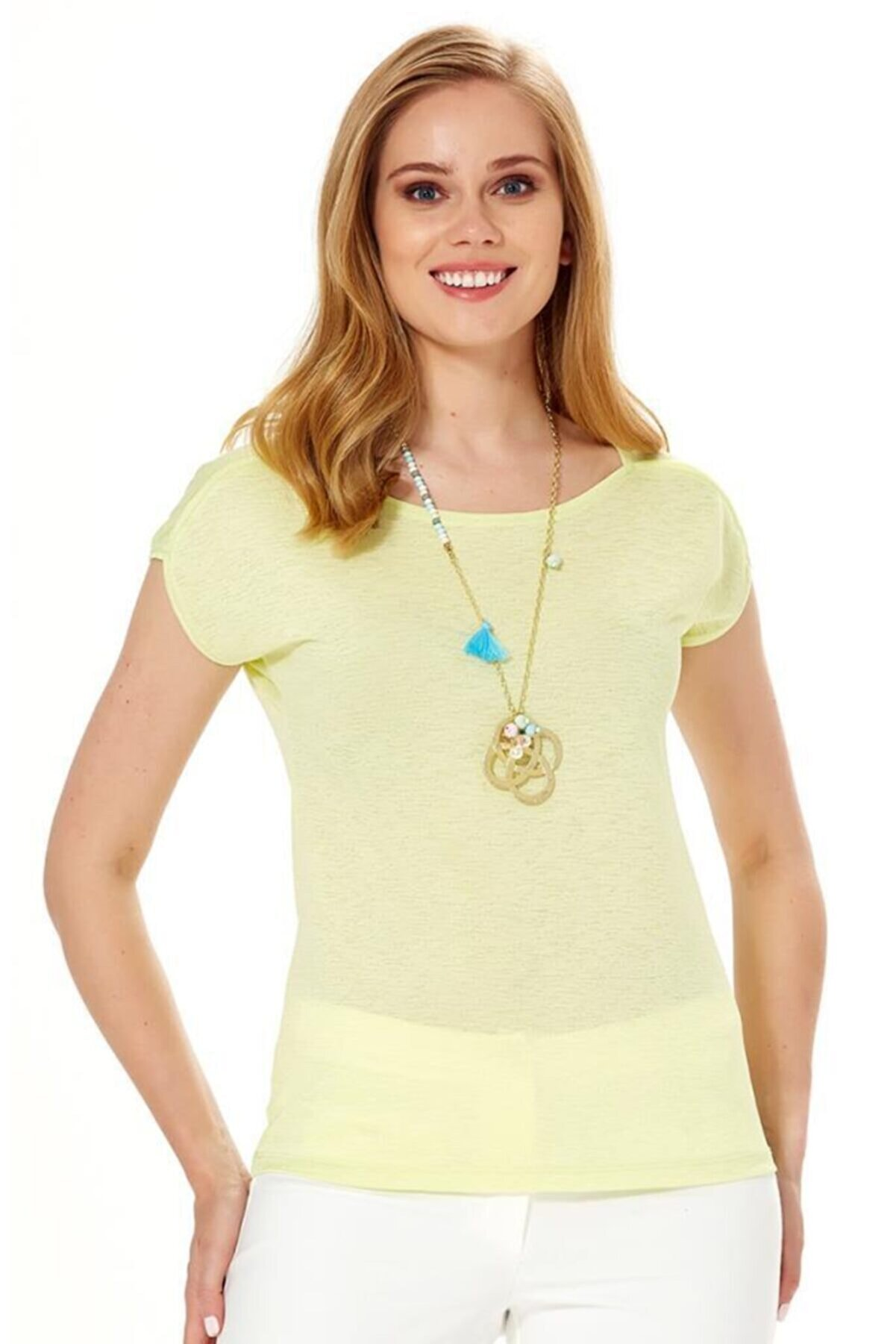 İkiler Kadın Açık Fıstık Yeşil Düşük Kol Omuzu Biyeli Bluz 018-1611