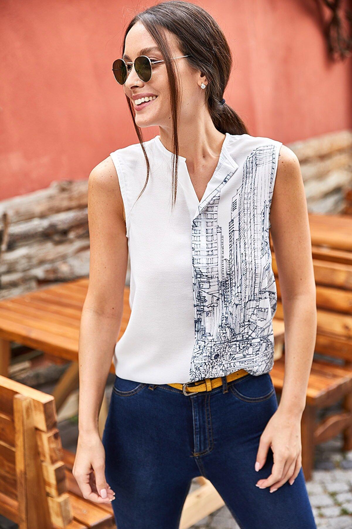 armonika Kadın Antrasit Dijital Baskılı Önü Biyeli Kolsuz Bluz ARM-21Y001033