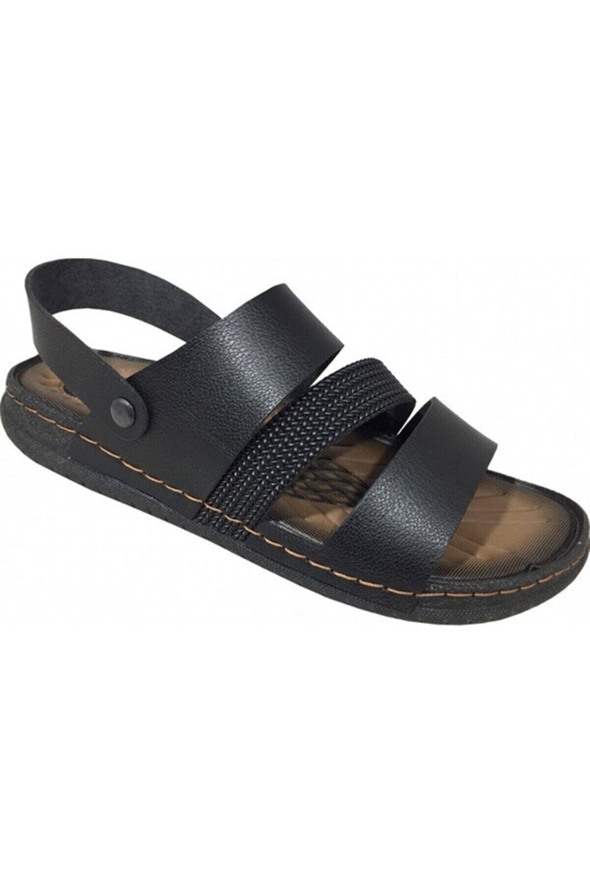 Gezer Erkek Günklük Deri Tam Ortapedik Sandalet Terlik- Altın Adım