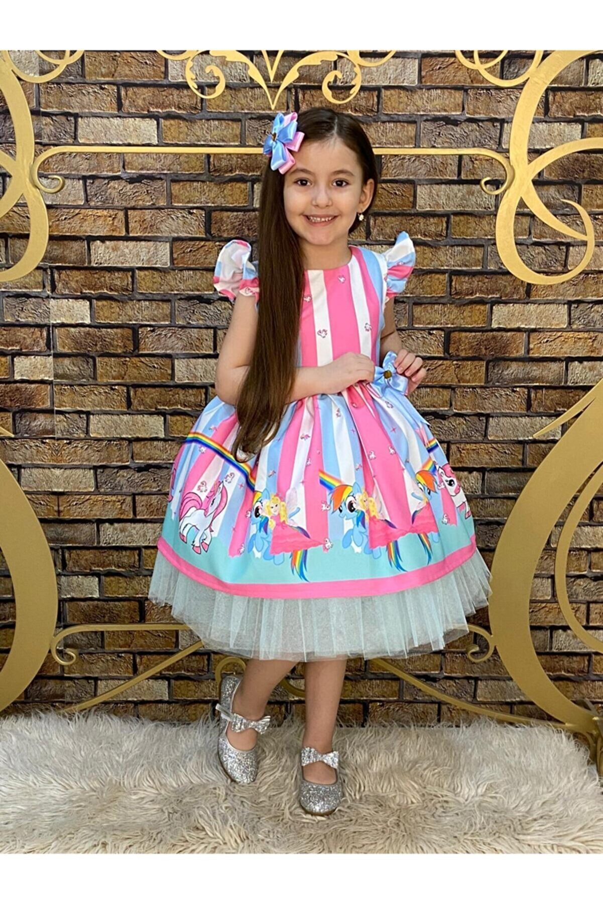 Tarz Çocuk Kız Çocuk Unicorn Tütülü Elbise