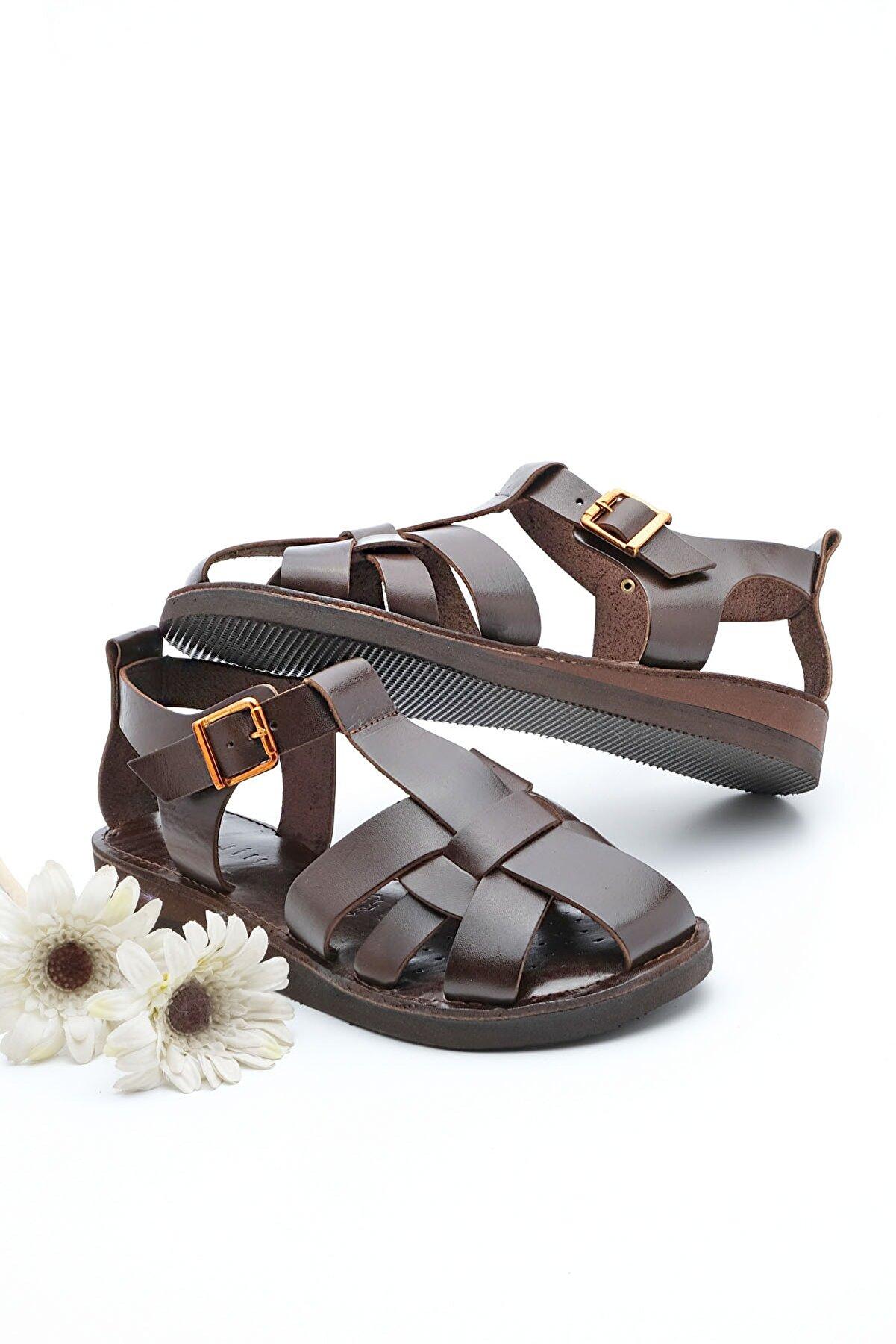 Marjin Kadın Hakiki Deri Sandalet Olinkahve