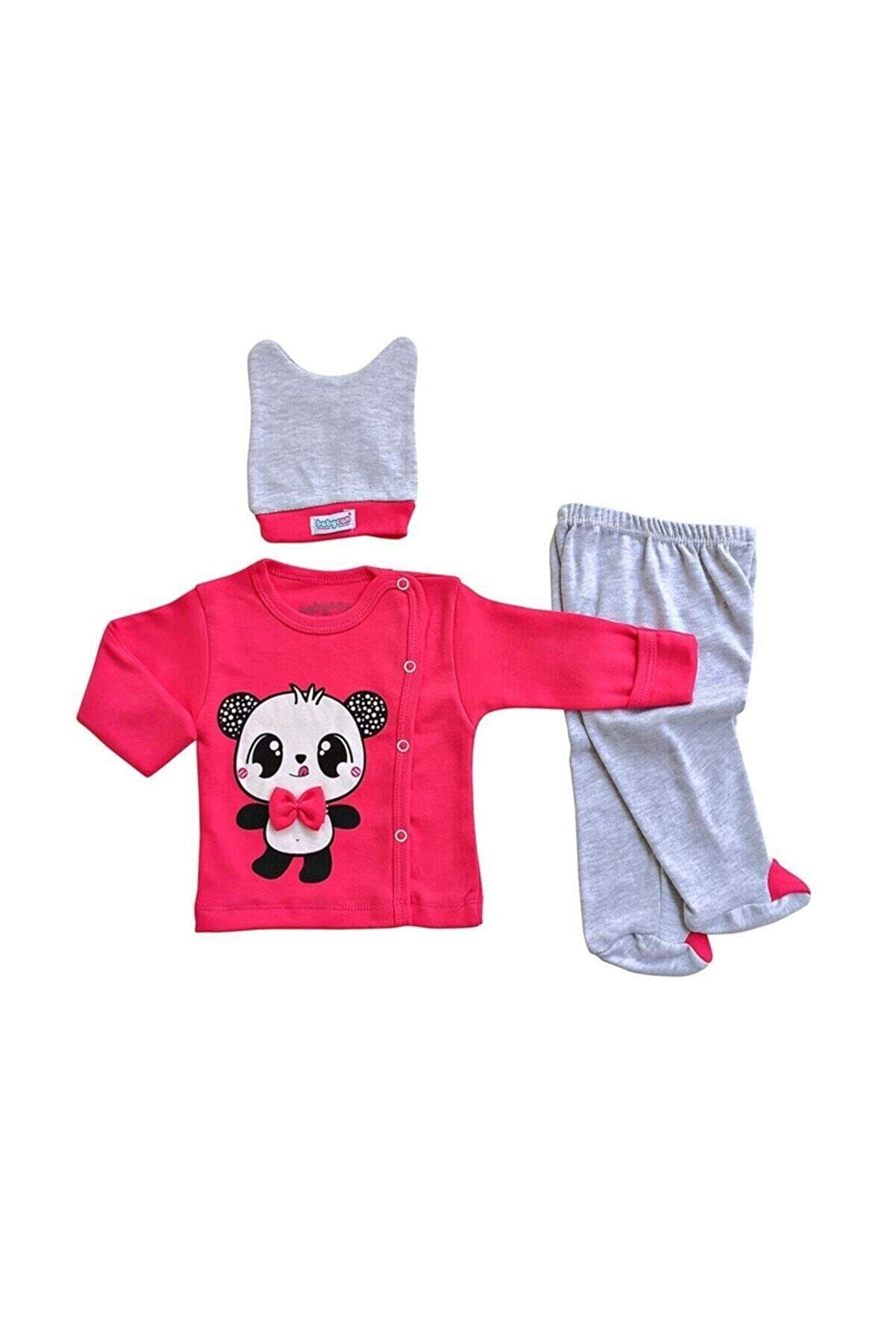 Babycan Kız Bebek Takım Yeni Doğan Zıbın 3lü Takım Papyonlu Panda
