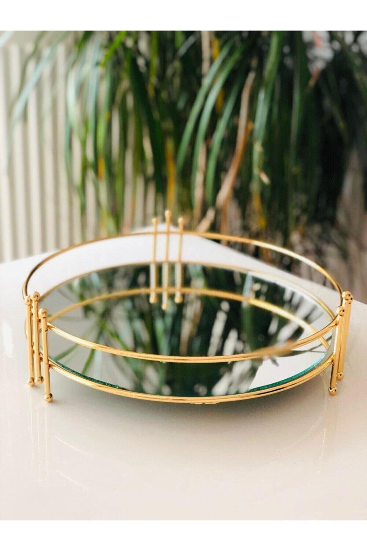 Sillage Home Yuvarlak Gold Aynalı Tepsi