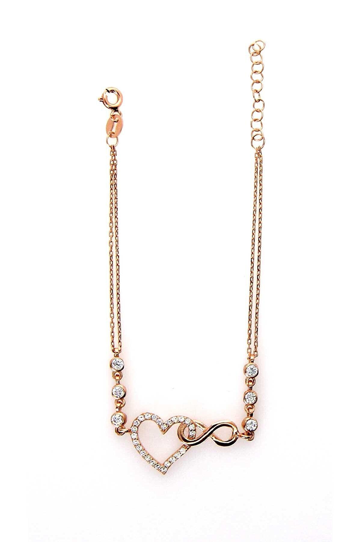 Necati Gün Zirkon Taşlı Kalp Rose Gold Gümüş Bileklik