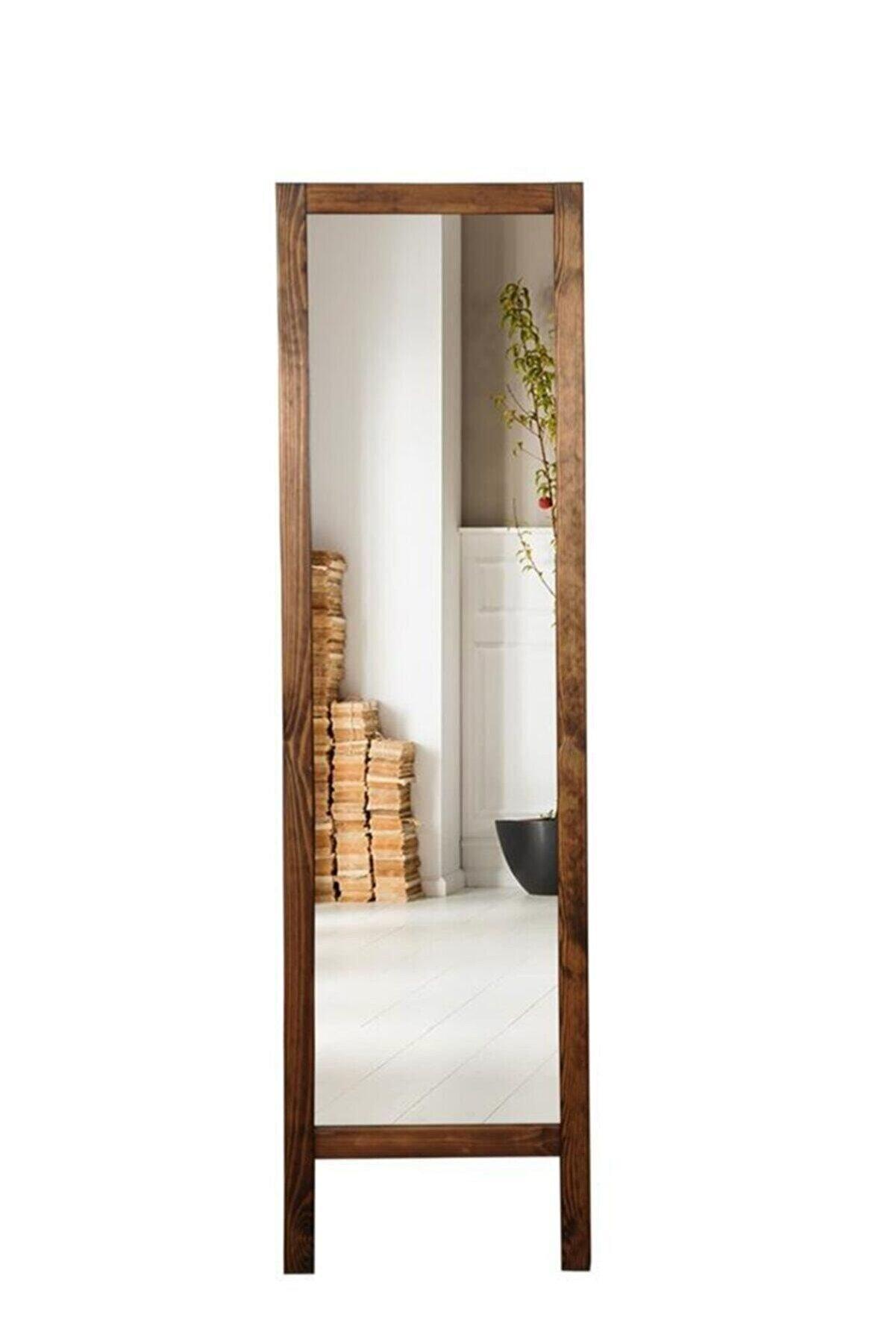 ÖZEL WOOD Ayaklı Boy Aynası Masif Ahşap Ba0001