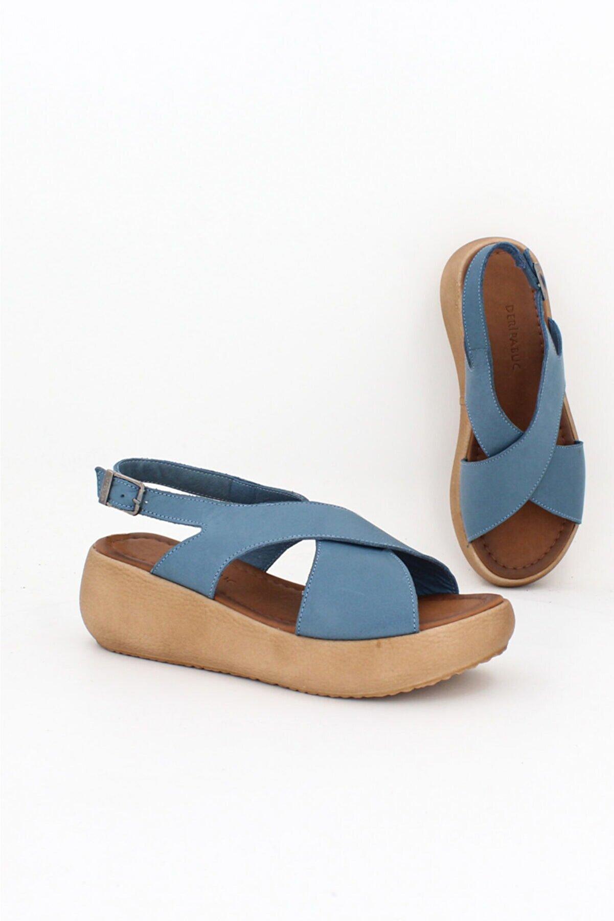 Deripabuc Hakiki Deri Kot Mavi Kadın Deri Sandalet Dp-20669