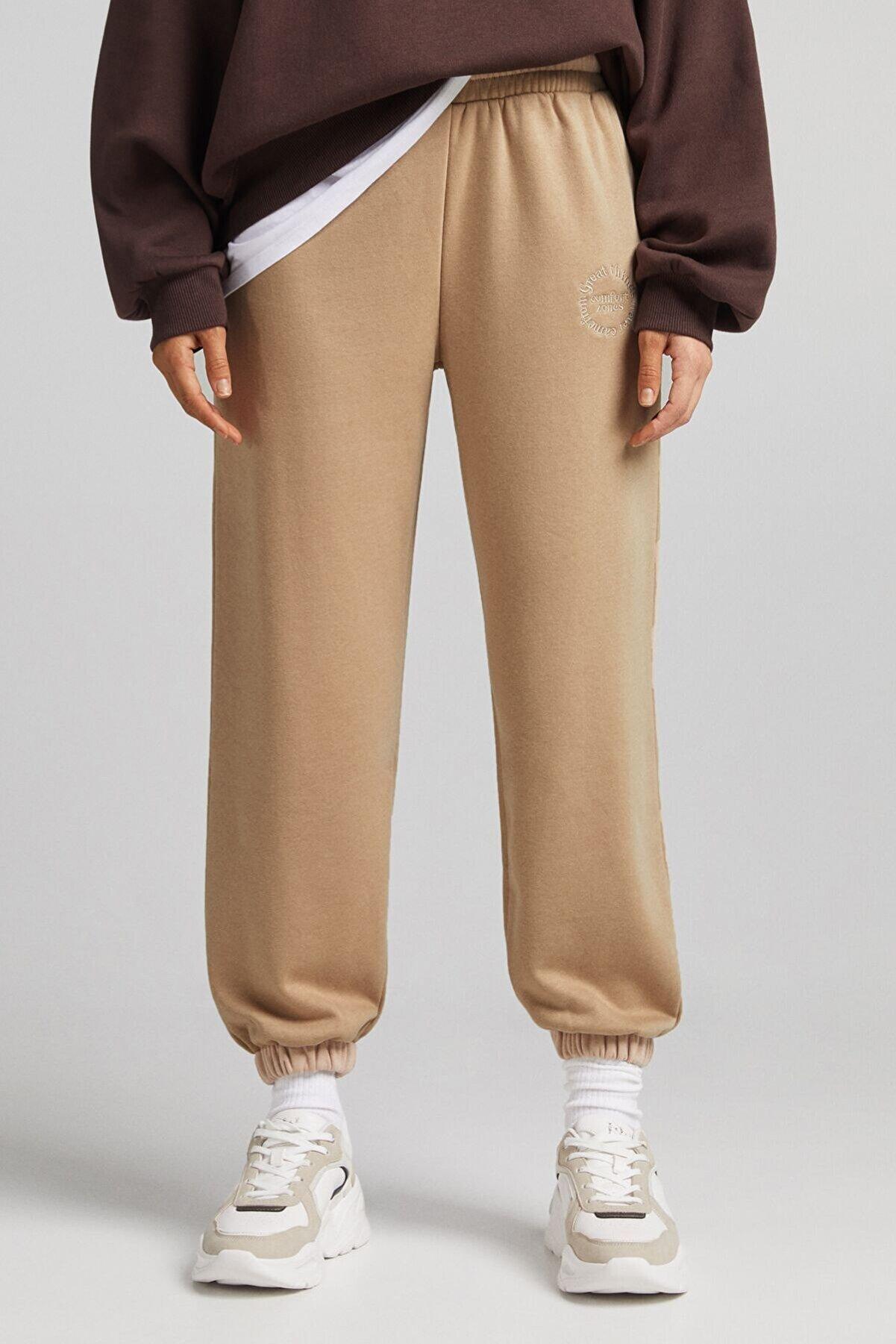 Bershka Kadın Deve Tüyü Rengi Koton Jogging Fit Pantolon