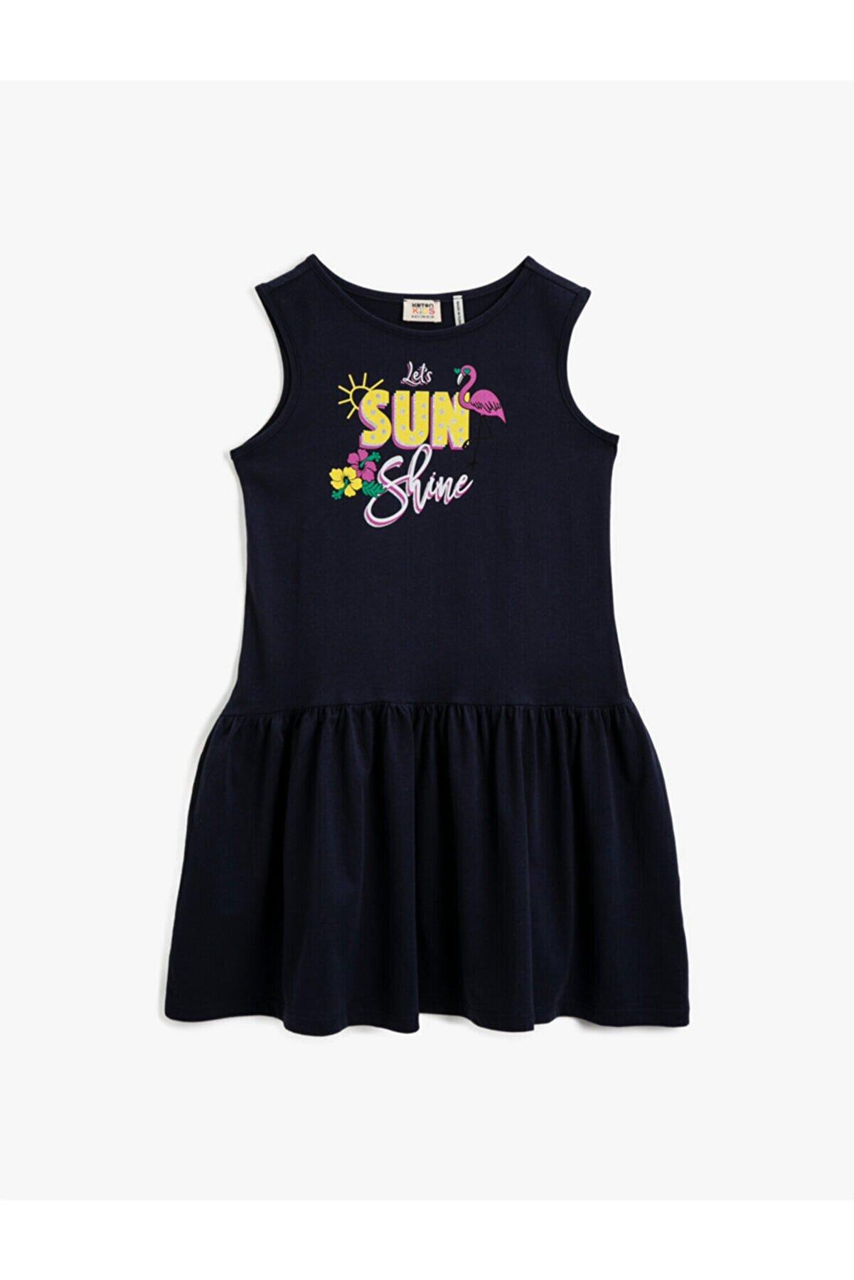 Koton Kız Çocuk ORTA İNDİGO Baskili Elbise Pamuklu