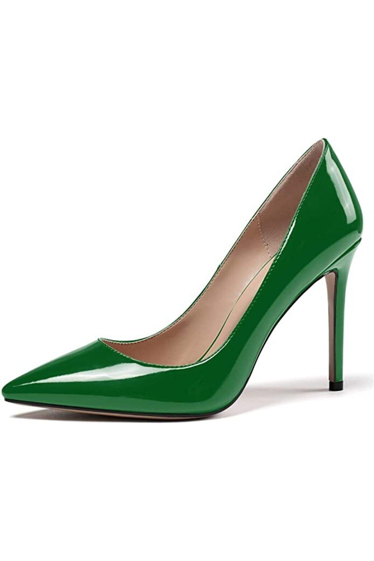 Picky Rose Yeşil Rugan Stiletto