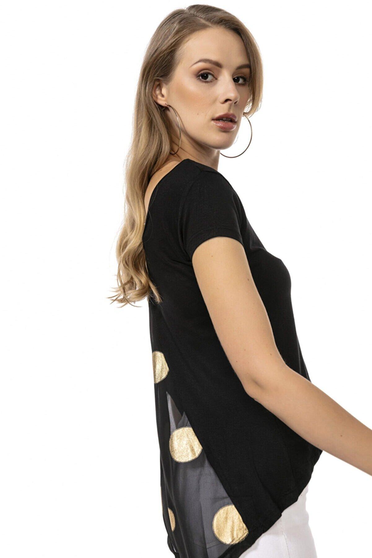 Modagusto Siyah Kayık Yaka Arkası Tül Detaylı T-shirt