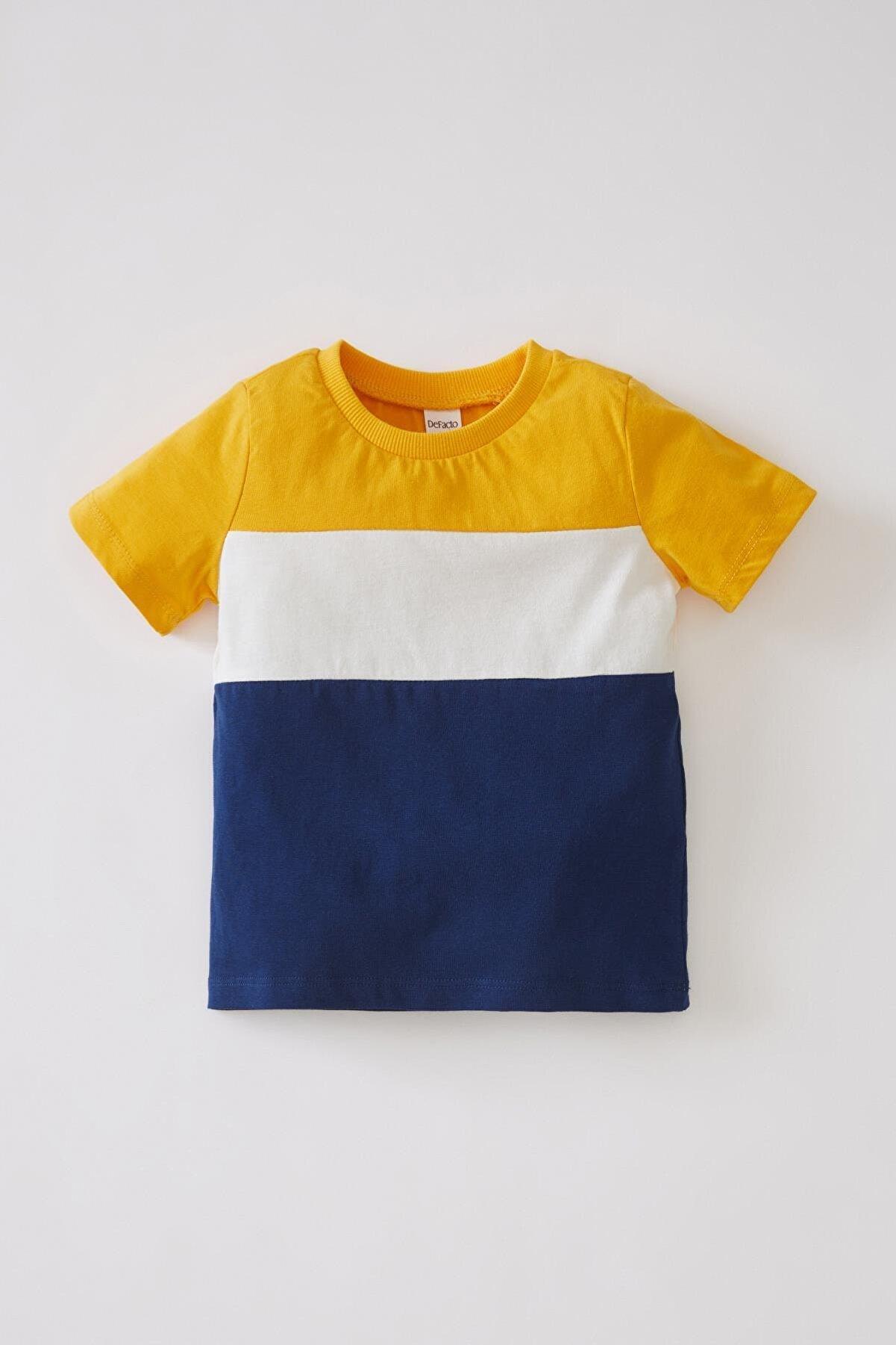 Defacto Unisex Renk Bloklu Kısa Kollu Pamuklu Tişört