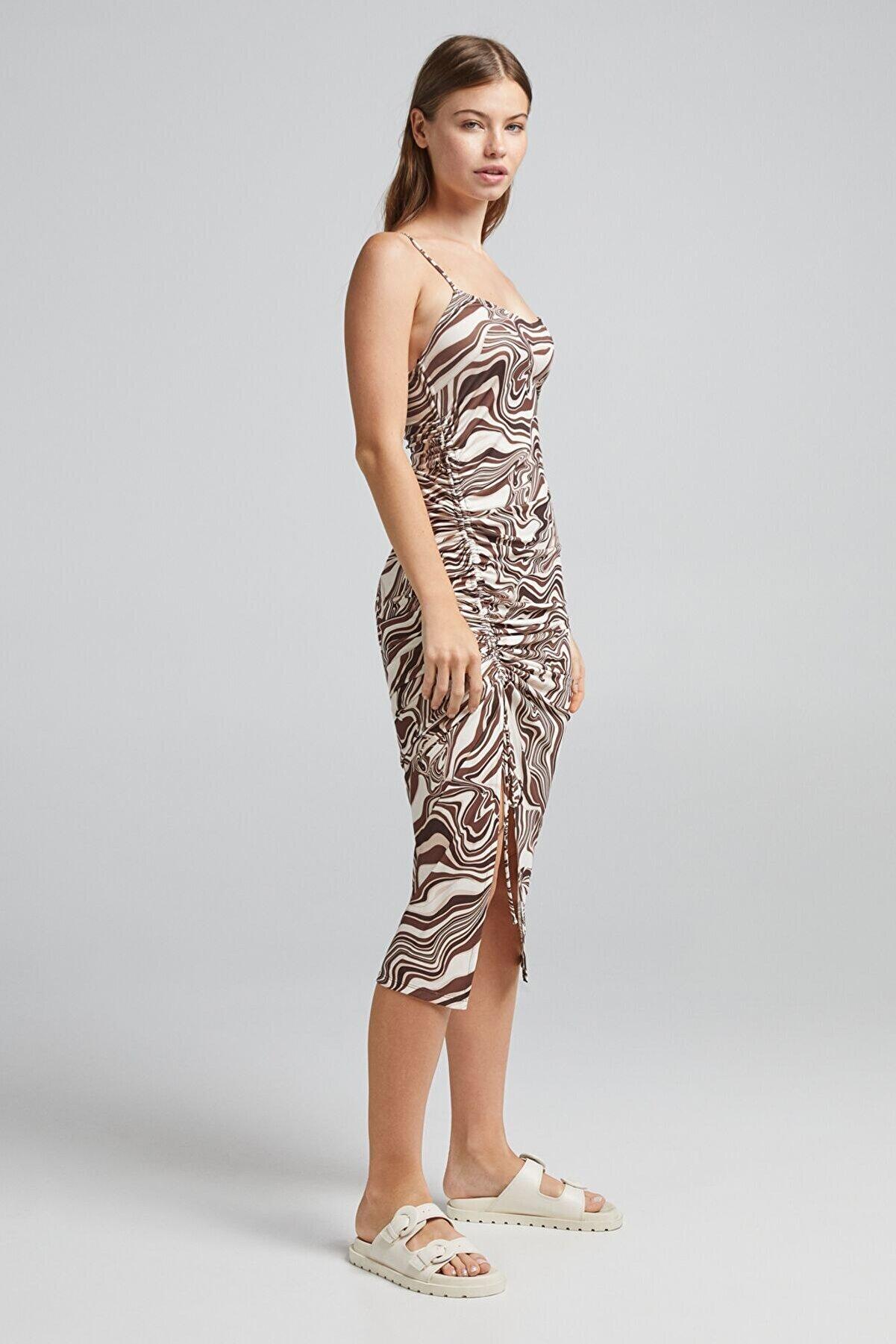 Bershka Kadın  Desenli Büzgülü Midi Elbise