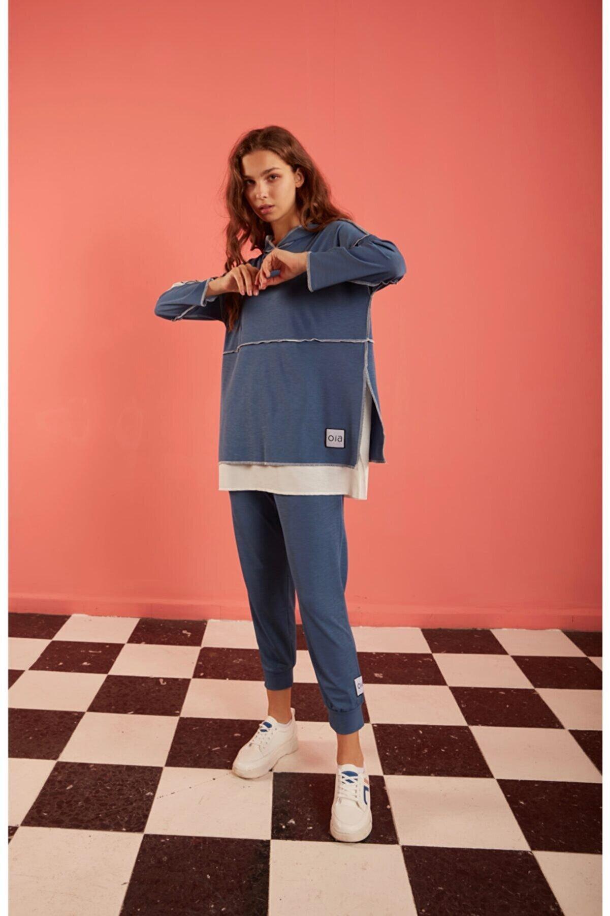 oia S-19141 Indigo Renk Örme Likralı Kapüşonlu Uzun Tunik Pantolon Alt Üst Eşofman Takım