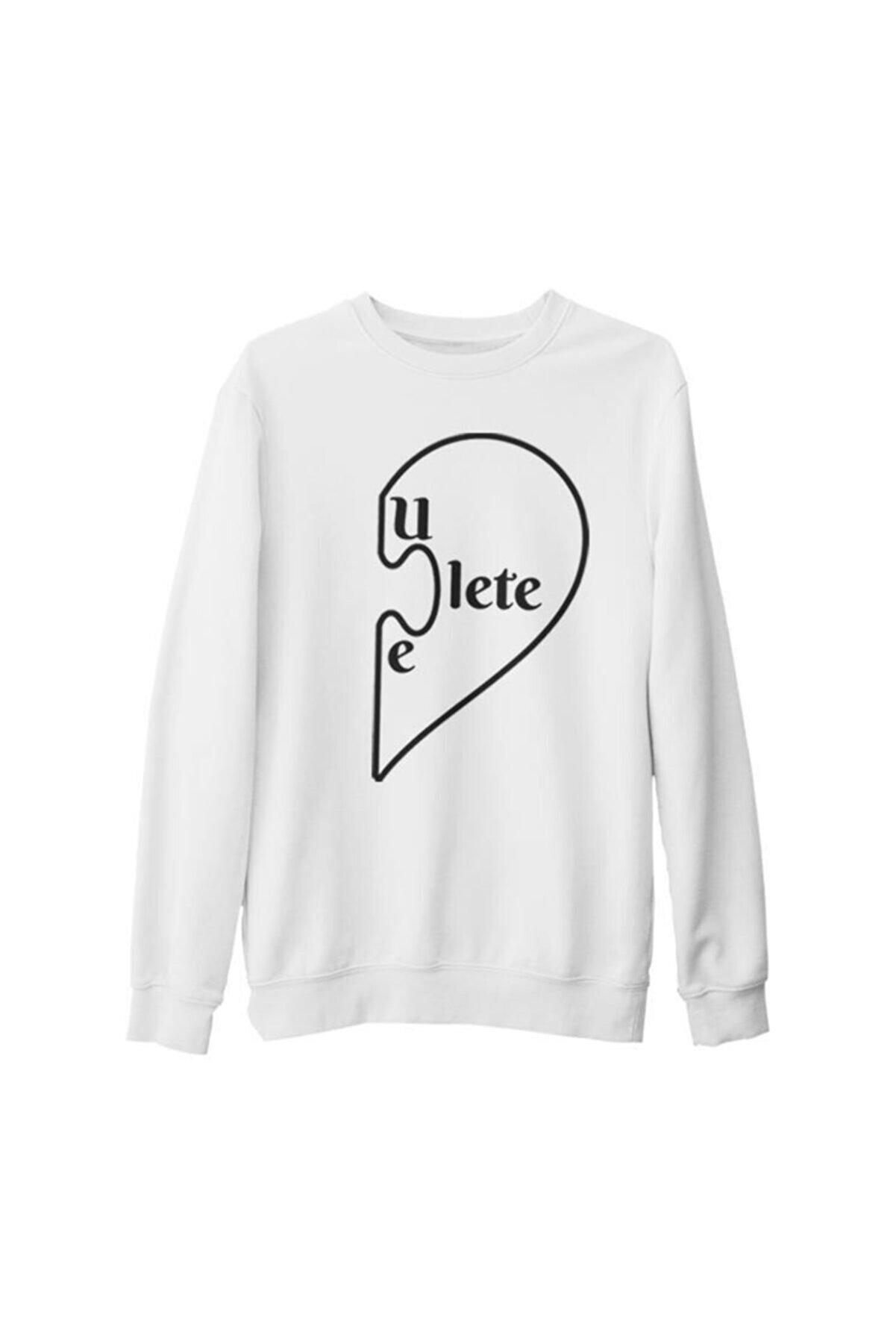 Lord T-Shirt Unisex Beyaz Baskılı Kalın Sweatshirt