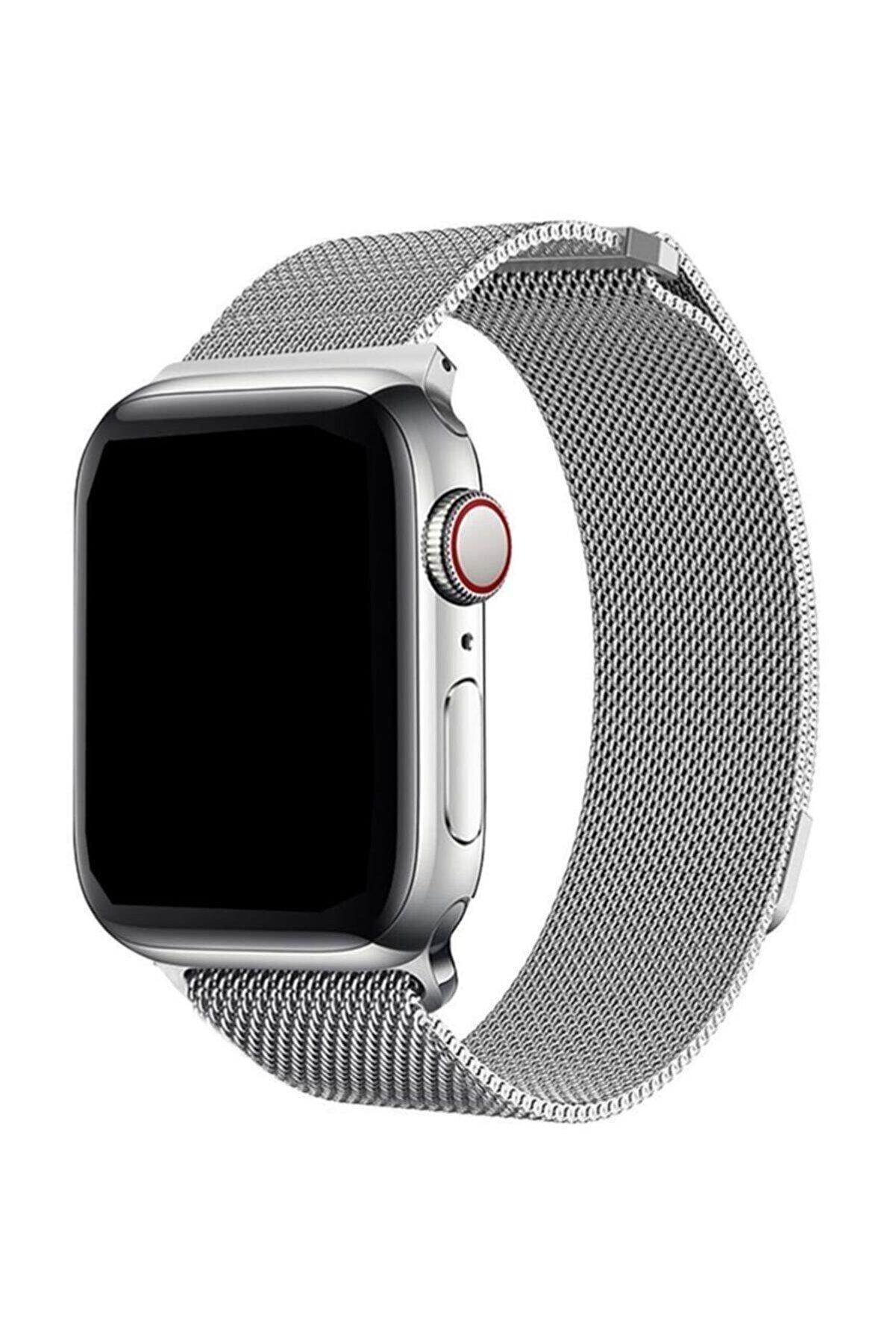Cimricik Apple Watch 2 3 4 5 42 mm 44 mm Hasır Örgü Metal Milano Kordon Kayış