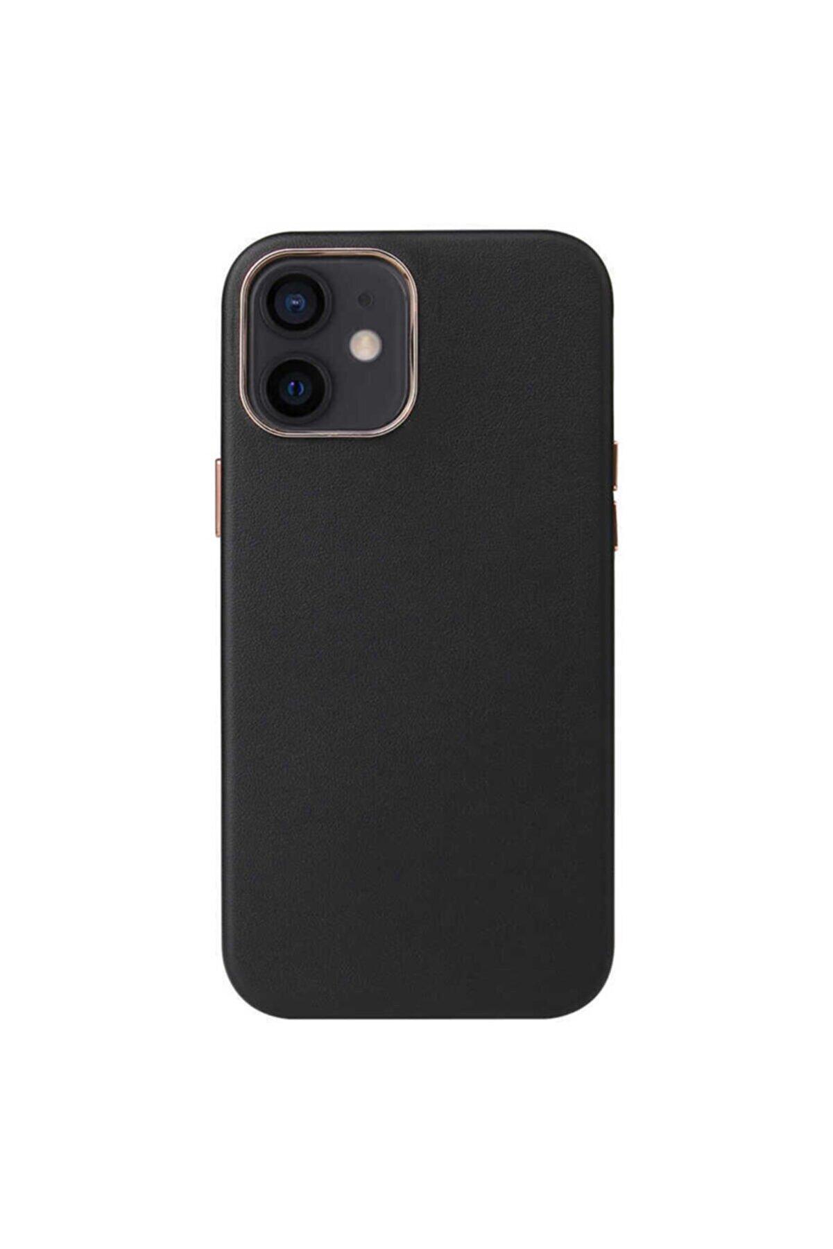 Apple Iphone 12 Magsafe Wireless Sarj Uyumlu Kılıf Leather Deri Kaplama Kadife
