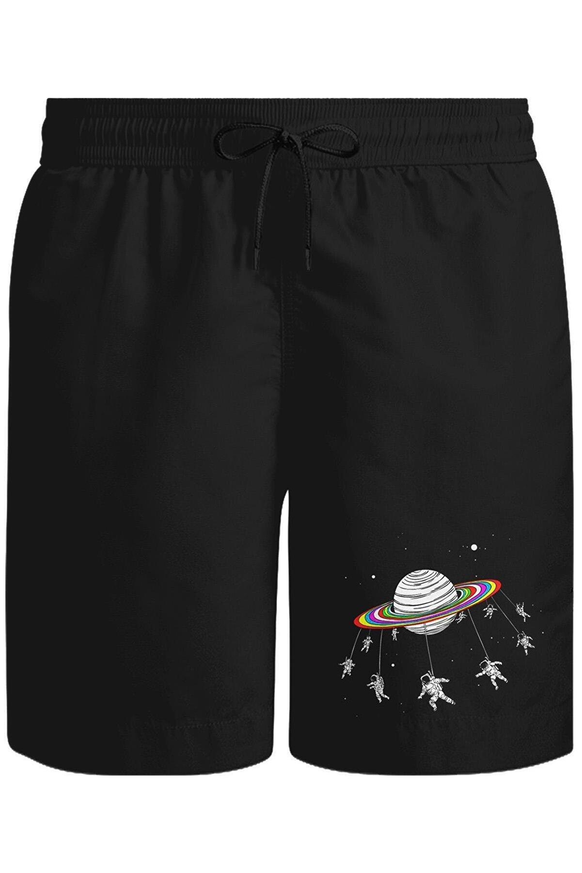 Lord T-Shirt Swing Astronot Unisex Siyah Şort