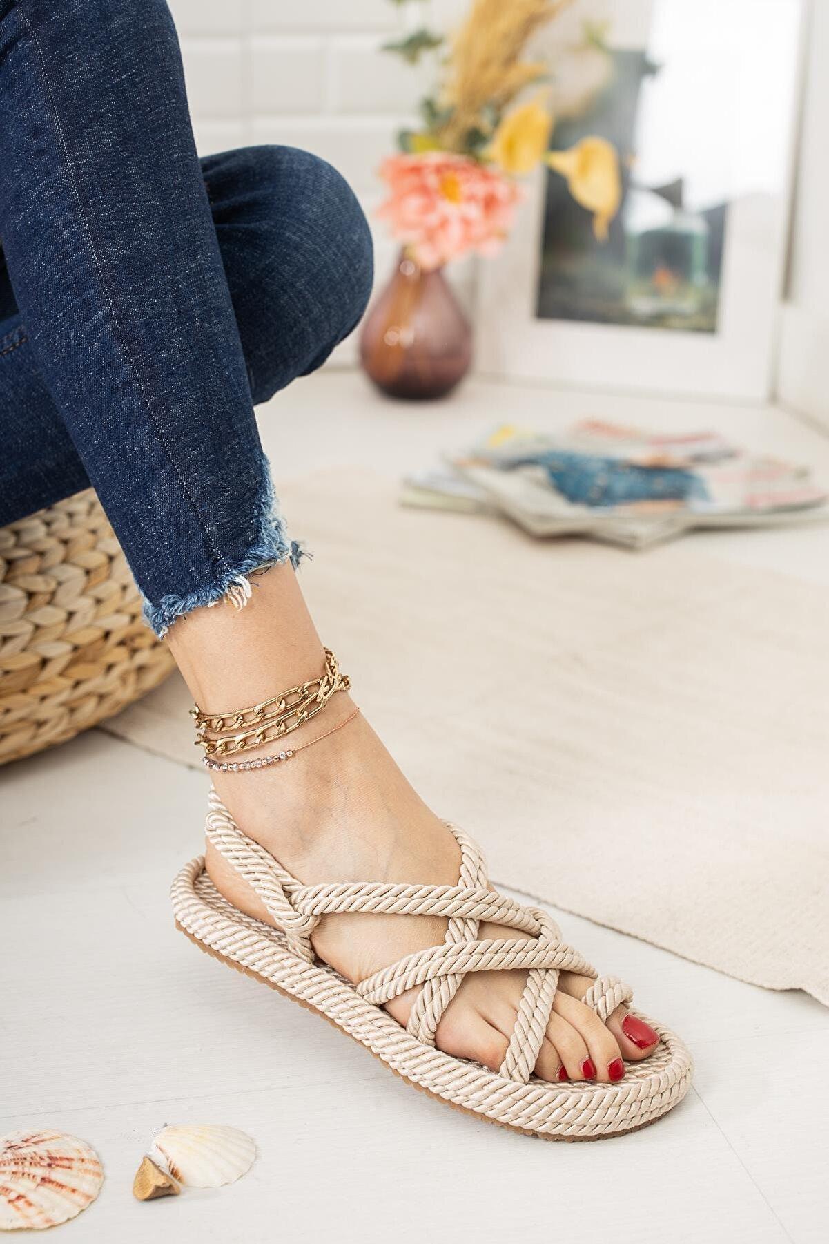 Çaçaroz Ayakkabı Kadın Bej Büyük Numara Halat Ip Sandalet
