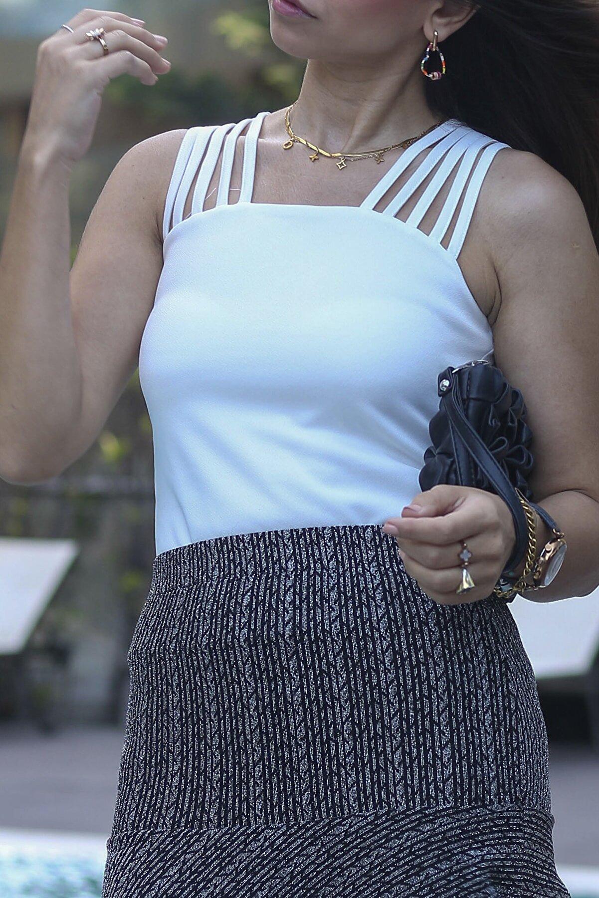 LOJİ Kadın Ipli Beyaz Tasarım Bluz