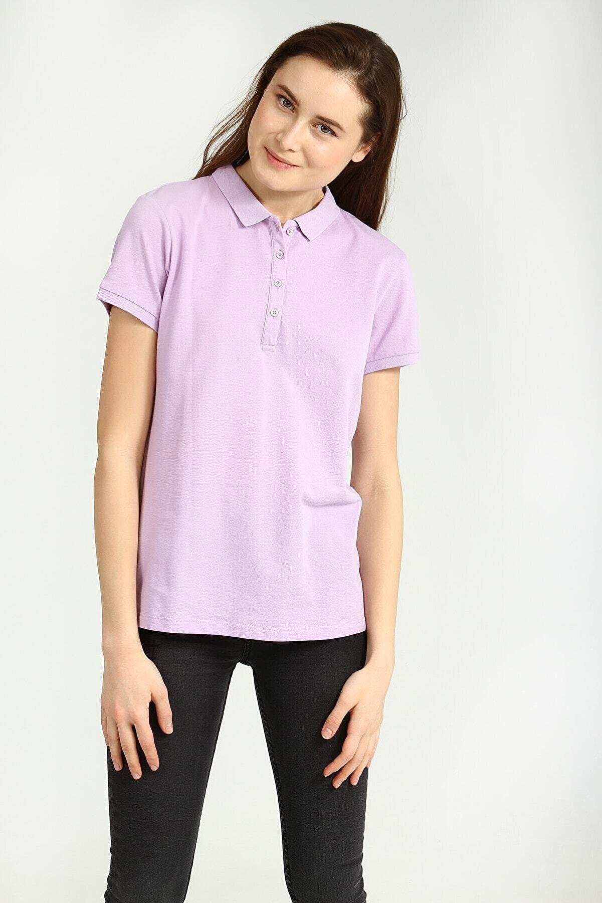 Collezione Kadın  Lila Polo Yaka Kısa Kollu Basic Tshirt
