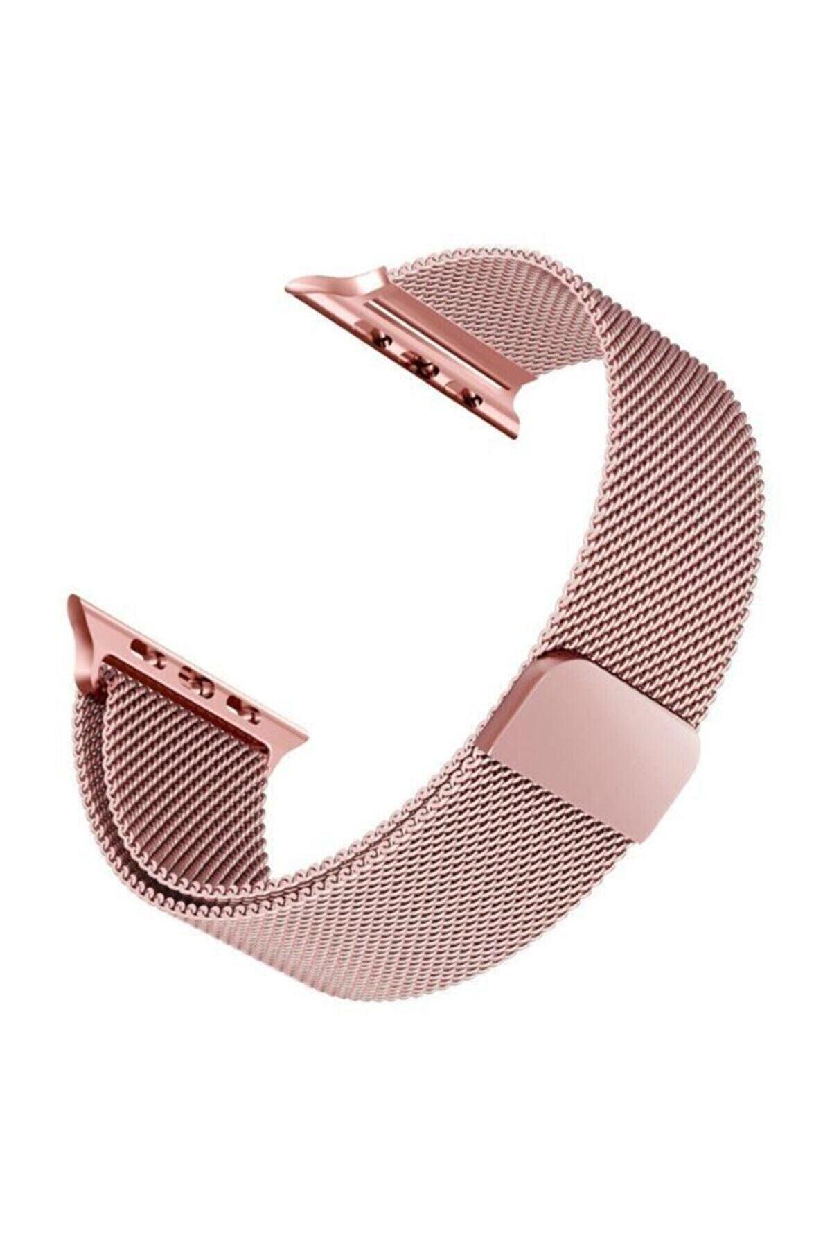 MAXCOM Apple Watch Hasır 38mm / 40mm Milanese Loop Kordon Rose Gold