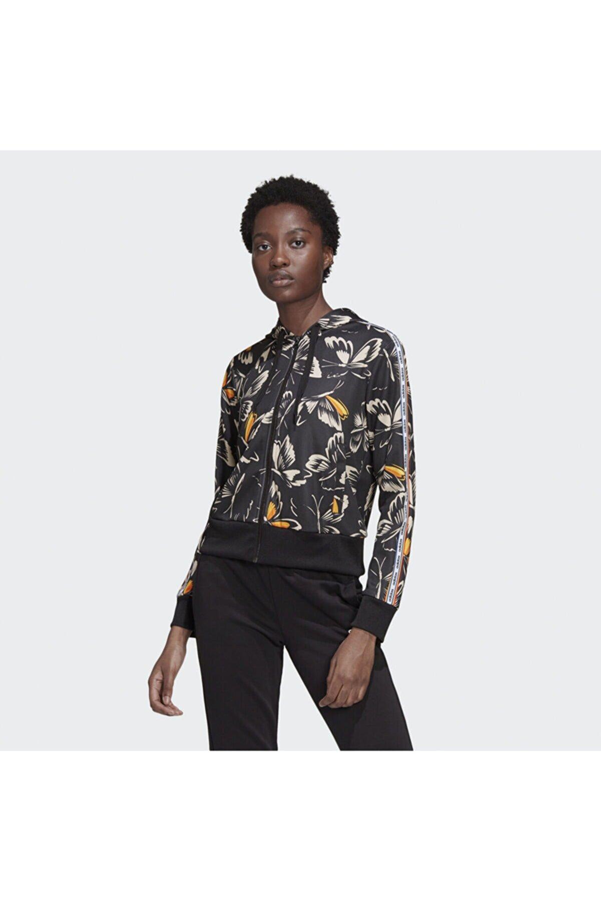 adidas Kadın Siyah Çiçek Desenli Ceket W Farm Print Ht