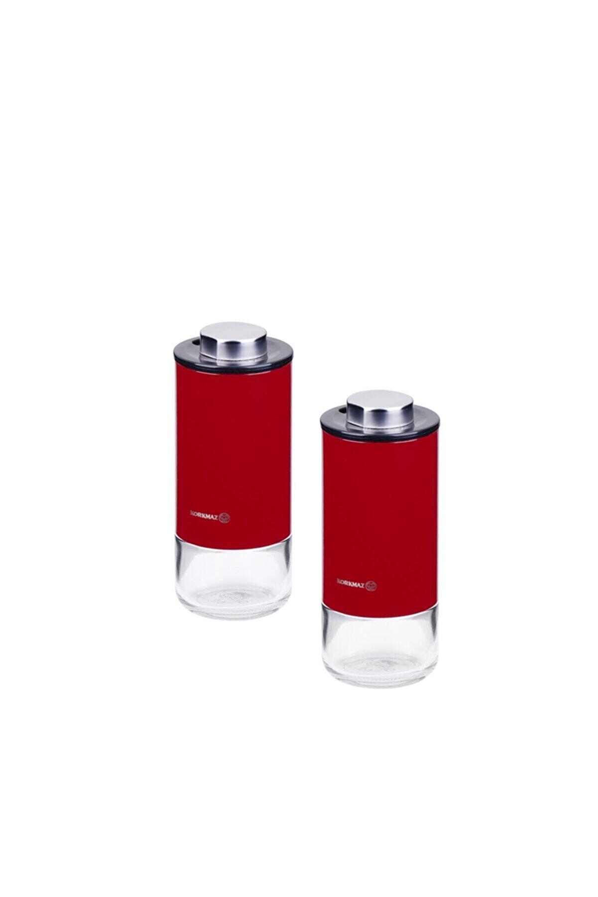 KORKMAZ Stora Plus Kırmızı Tuzluk Biberlik Seti