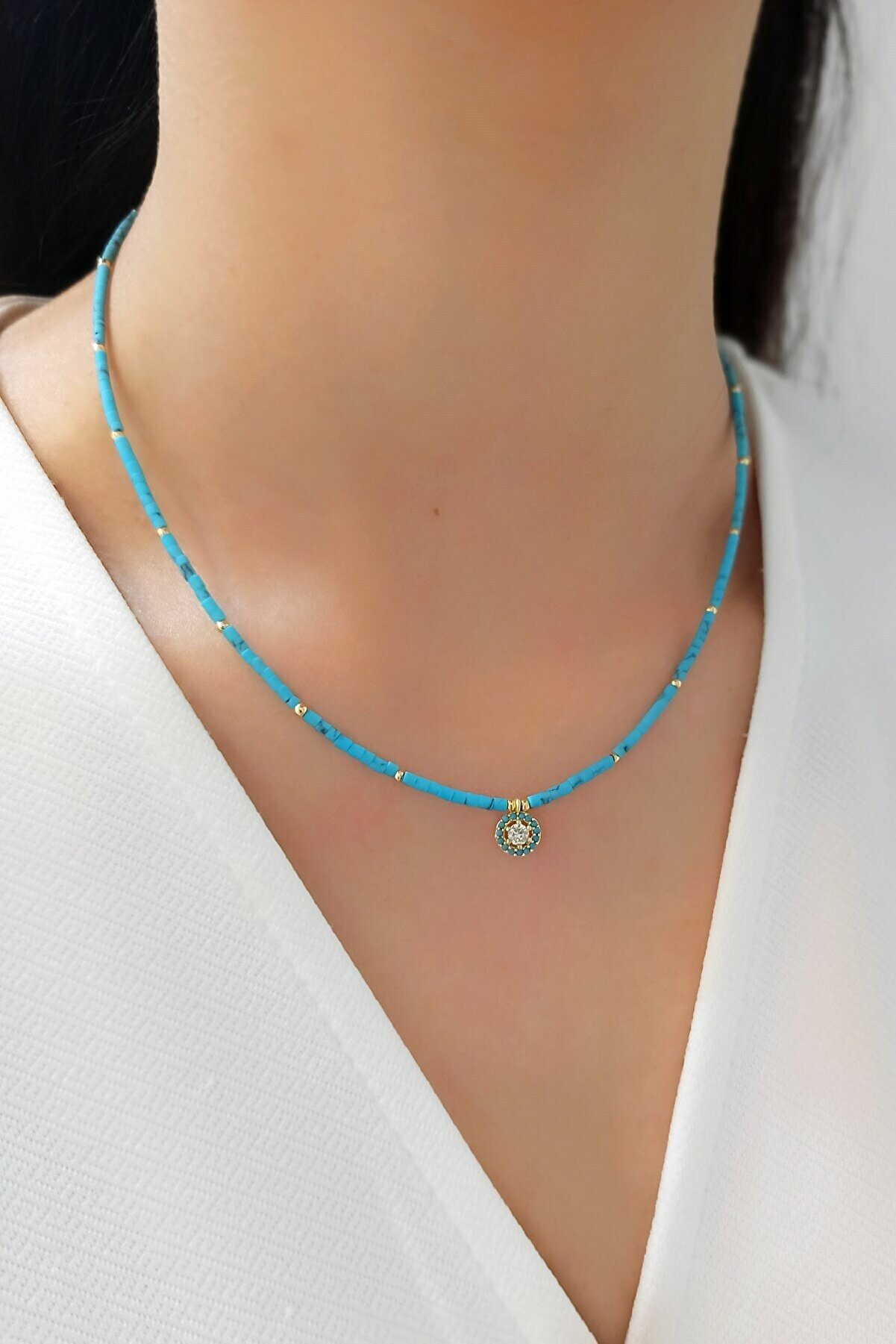 Çlk Accessories Boru Boncuk Mavi Taşlı Kolye Trkolye5509 B32003