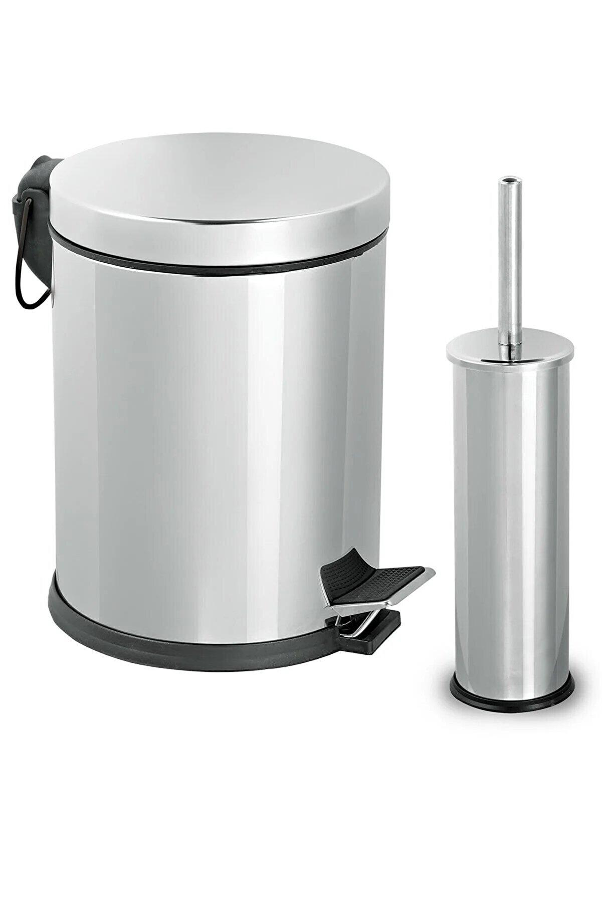 Sas 3lt Krom 2'li Banyo Seti Pedallı Çöp Kovası Wc Klozet Tuvalet Fırça Seti Banyo Çöp Kovası