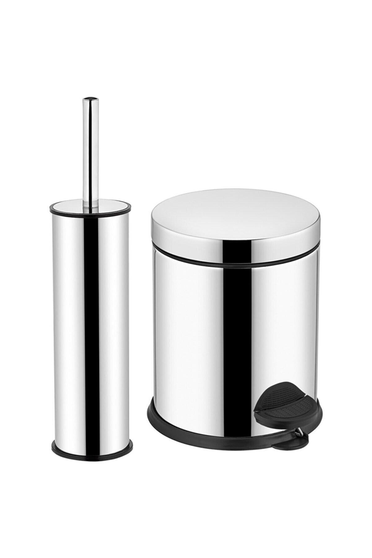 Sas Pedallı Çöp Kovası Wc Klozet Tuvalet Fırça Seti Banyo Çöp Kovası 3 Lt Krom 2'li Banyo Seti